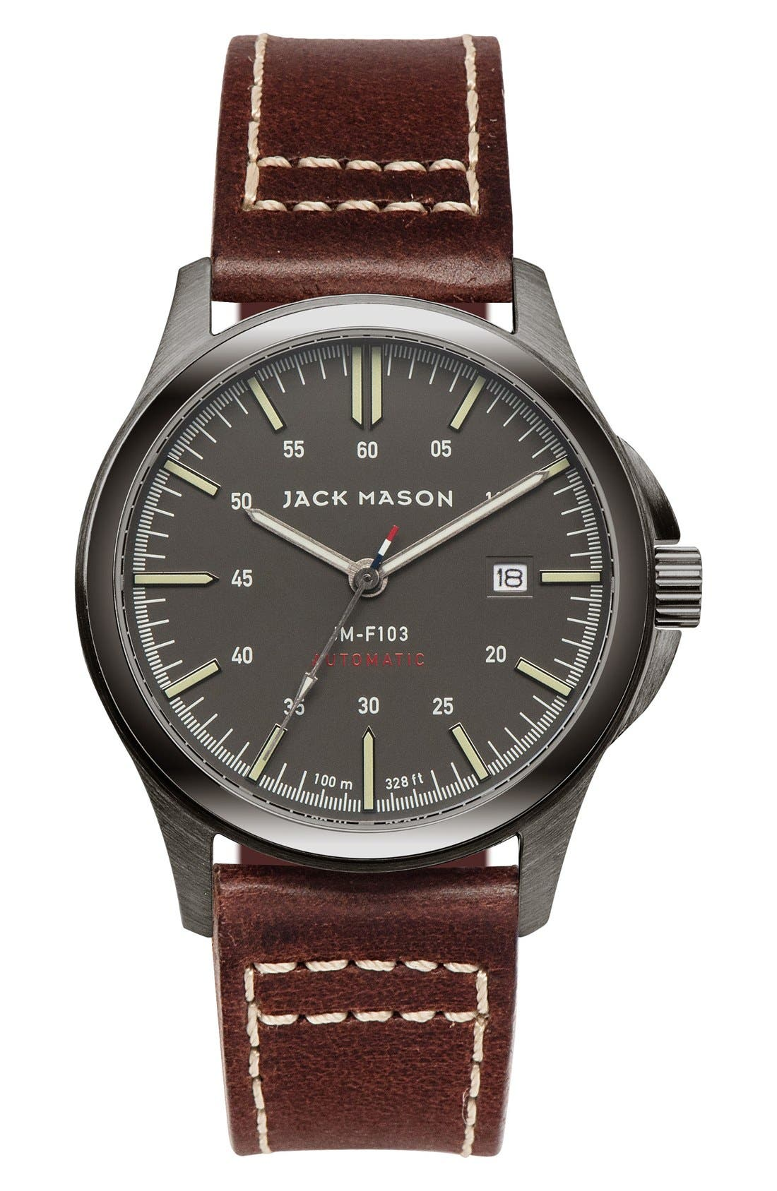 JACK MASON Automatic Leather Strap Watch, 42mm