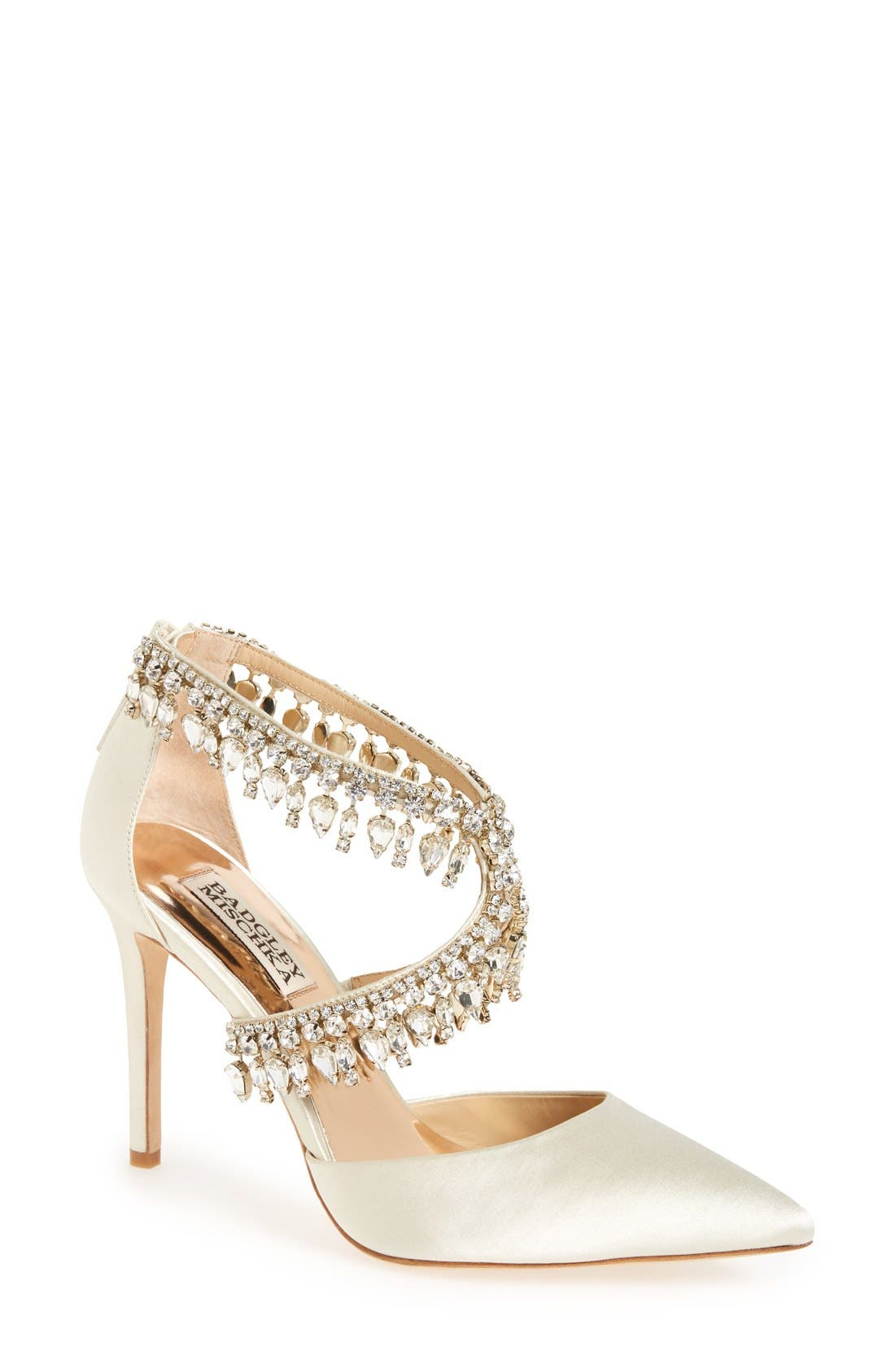 Alternate Image 1 Selected - Badgley Mischka 'Glamorous' Crystal-Embellished Pointy Toe Pump (Women)