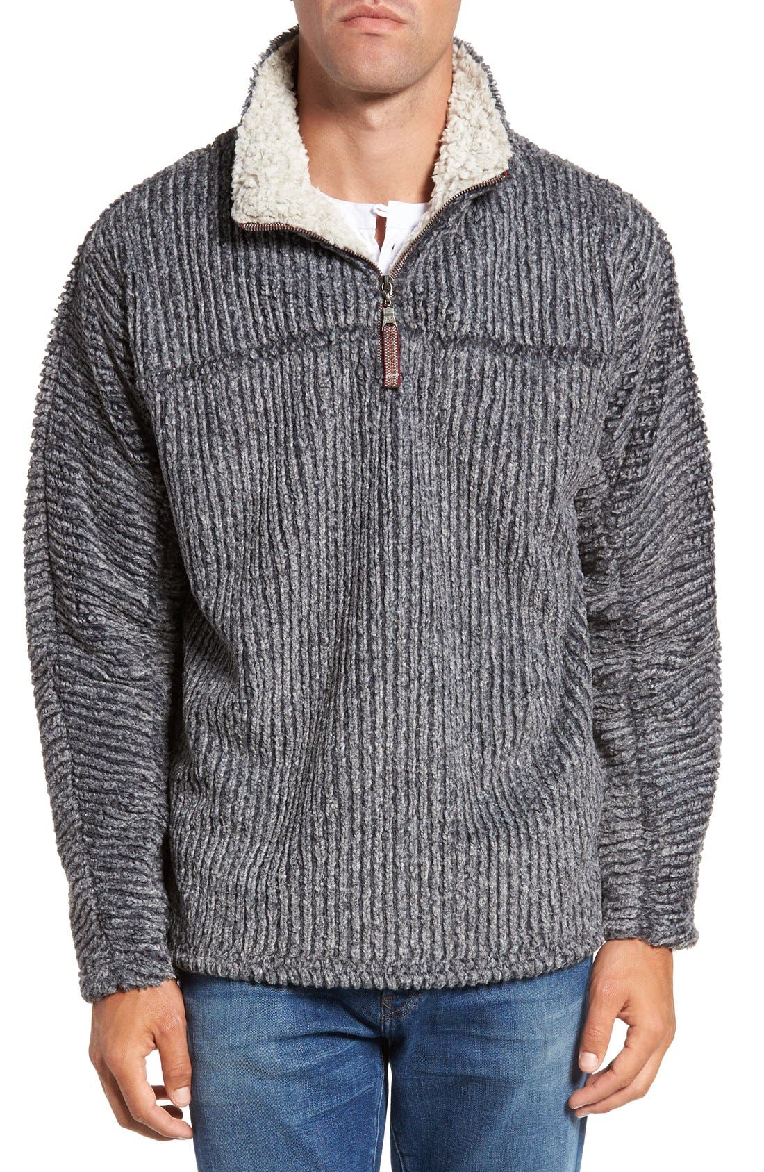 Main Image - True Grit Frosty Cord Pile Quarter Zip Pullover