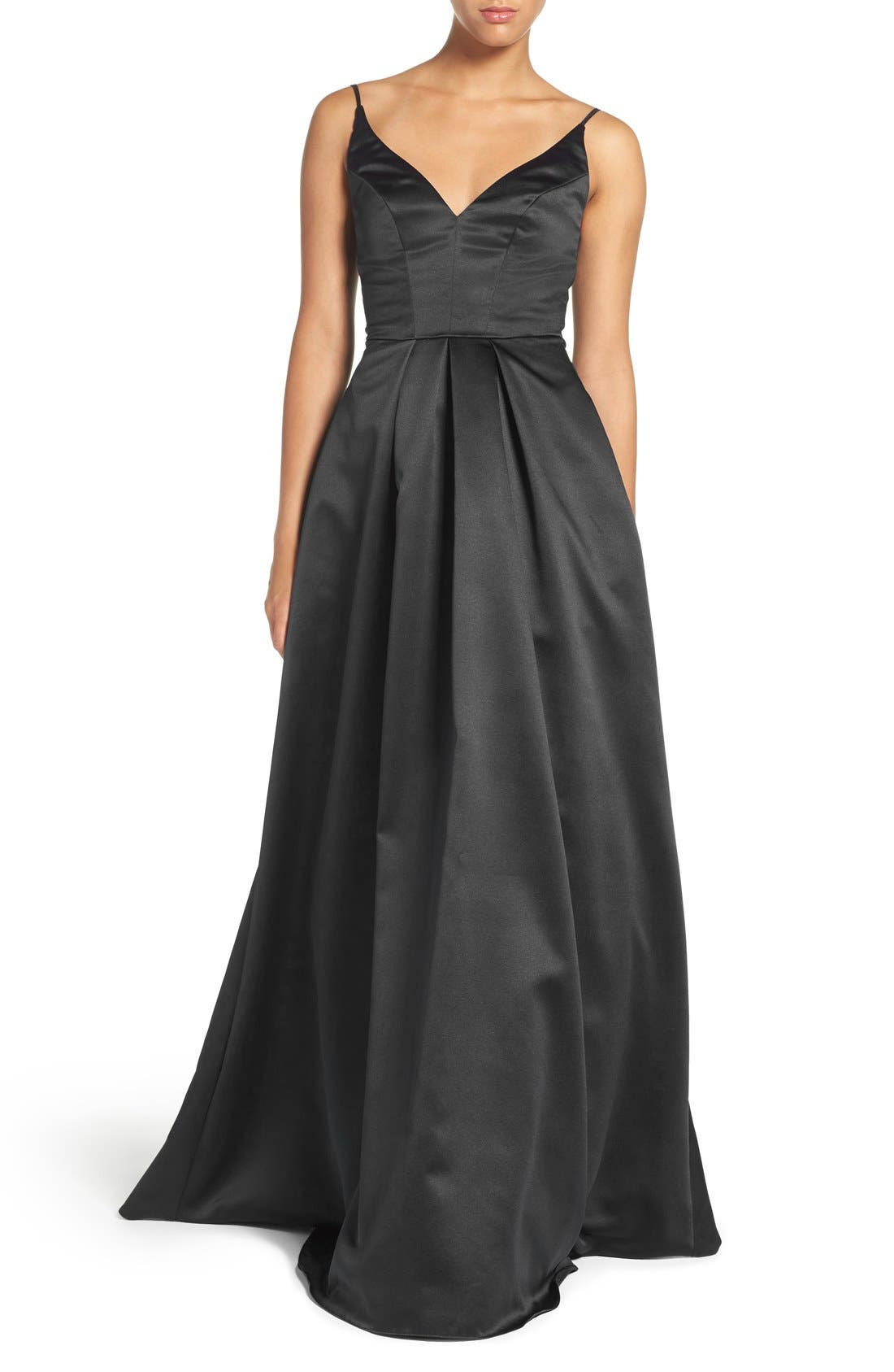 Alternate Image 1 Selected - Hayley Paige Occasions Sweetheart Neck Satin A-Line Gown