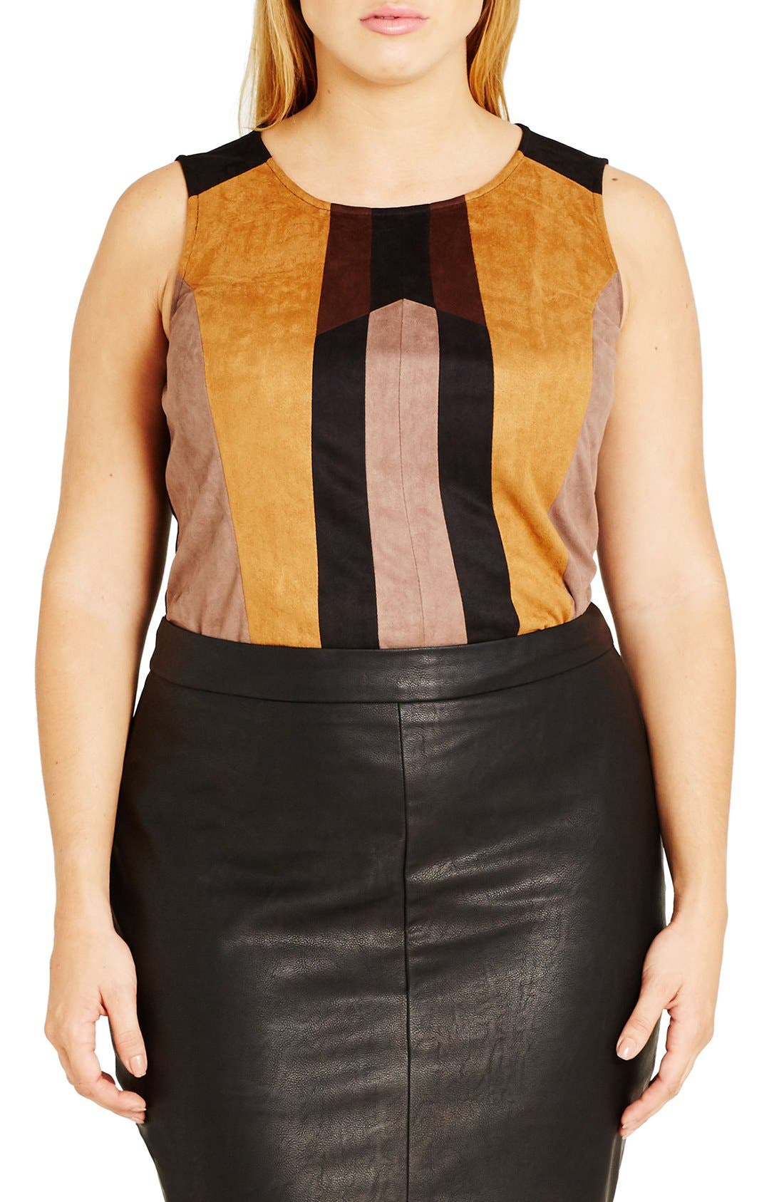 Alternate Image 1 Selected - City Chic Patchwork Faux Suede Front Crop Top (Plus Size)