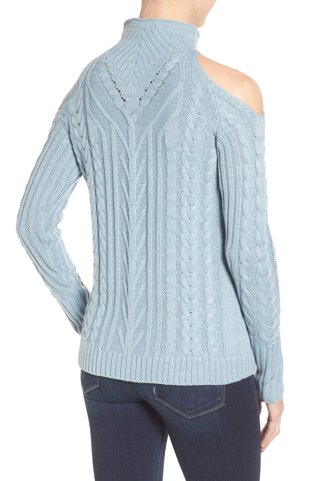 Alternate Image 2  - RD Style Cold Shoulder Cable Knit Sweater