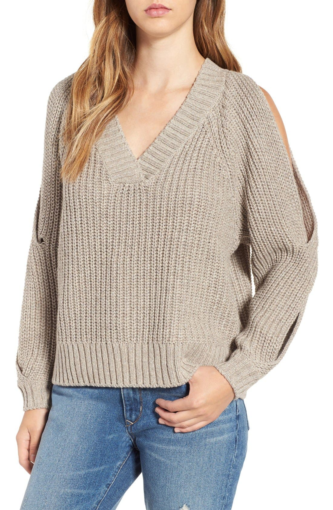 Main Image - Leith Ribbed Cold Shoulder Sweater