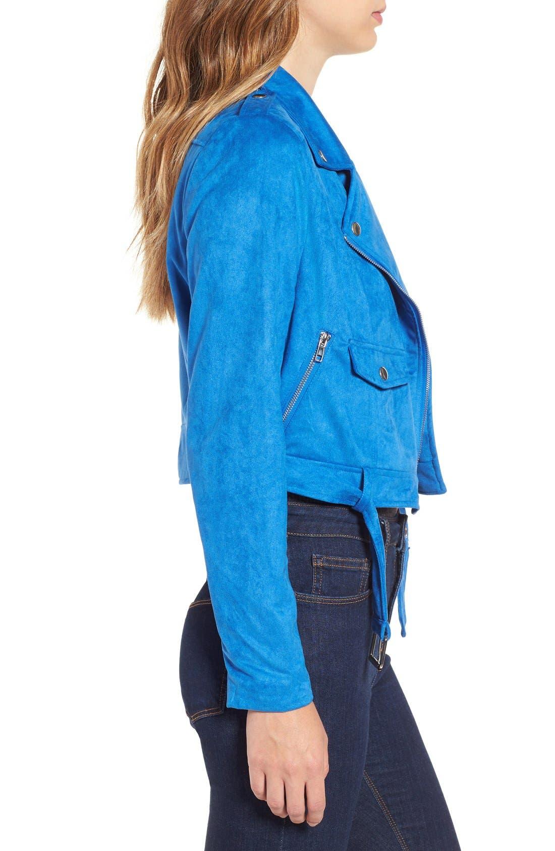 Alternate Image 3  - Missguided Crop Faux Suede Moto Jacket