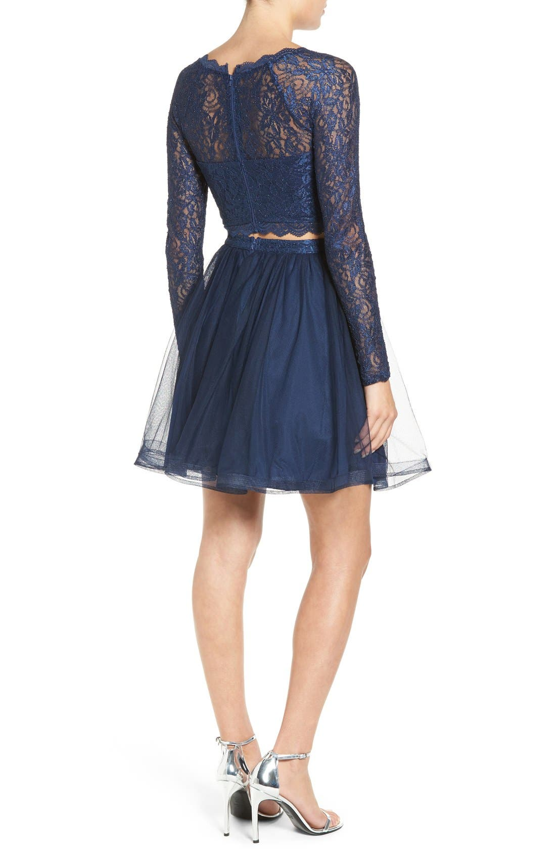 Alternate Image 2  - Sequin Hearts Long Sleeve Lace Two-Piece Skater Dress