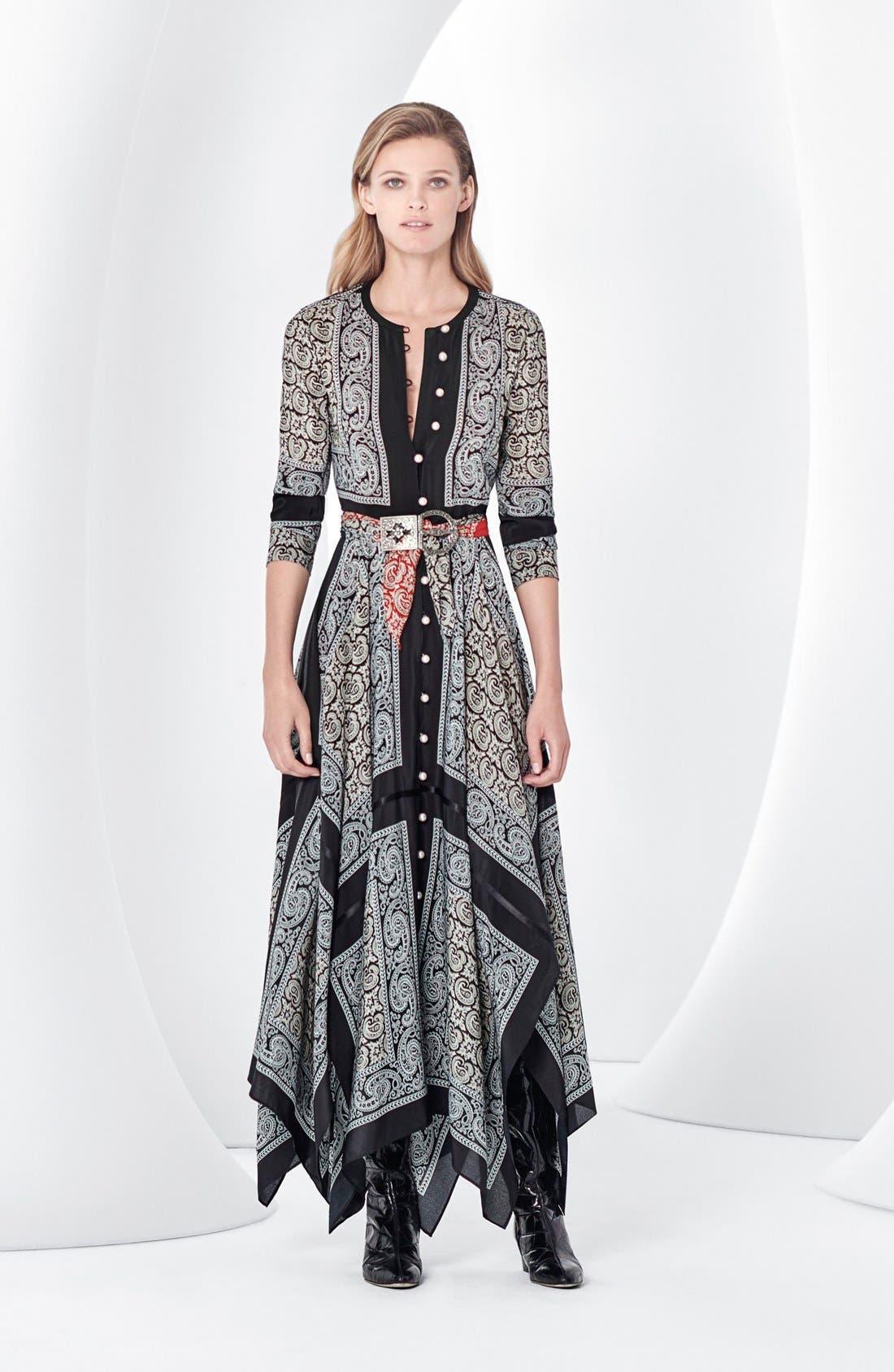 Alternate Image 7  - Altuzarra Paisley Print Handkerchief Hem Silk Dress