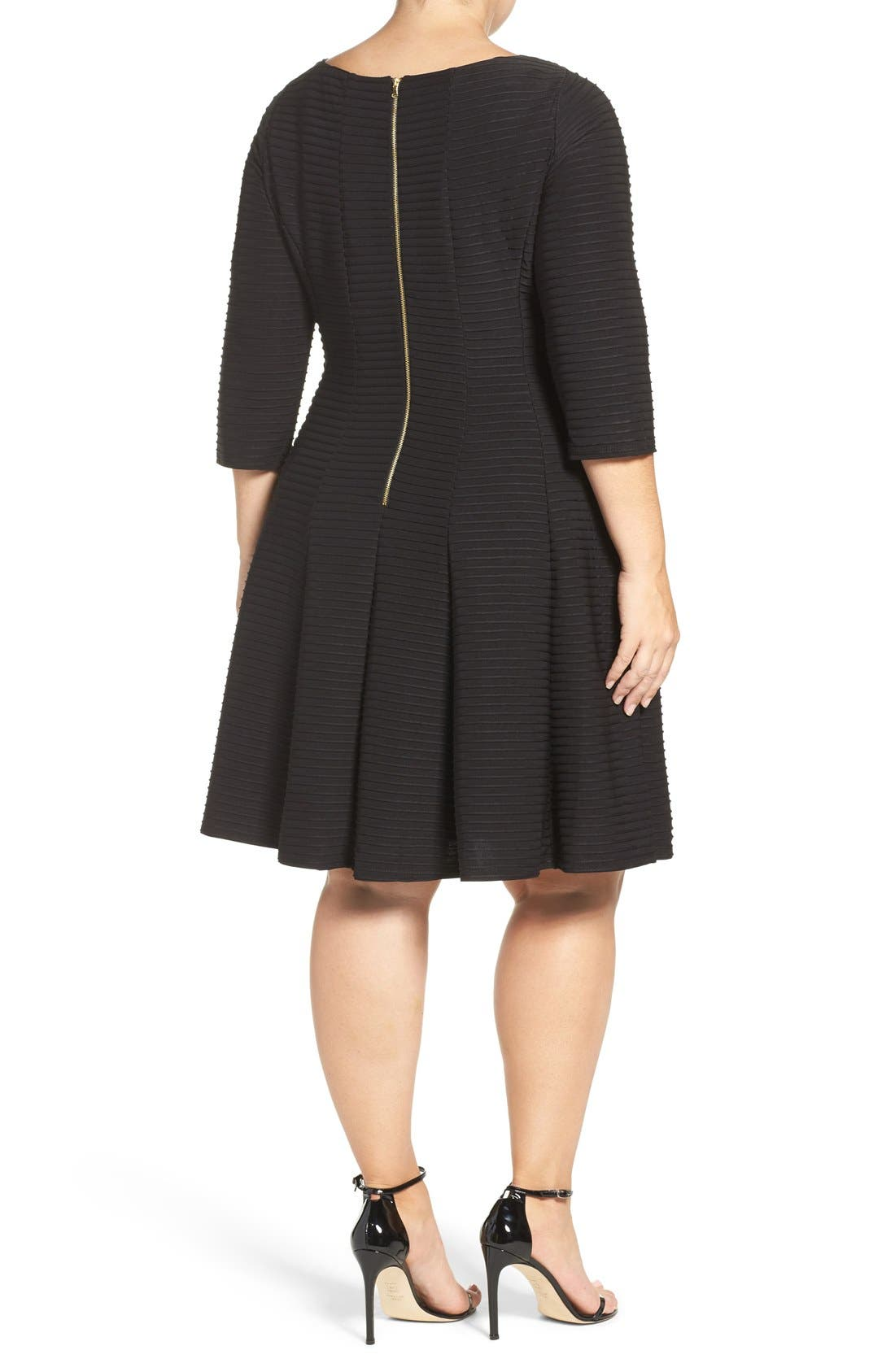 Alternate Image 2  - Gabby Skye Pintuck Knit Fit & Flare Dress (Plus Size)