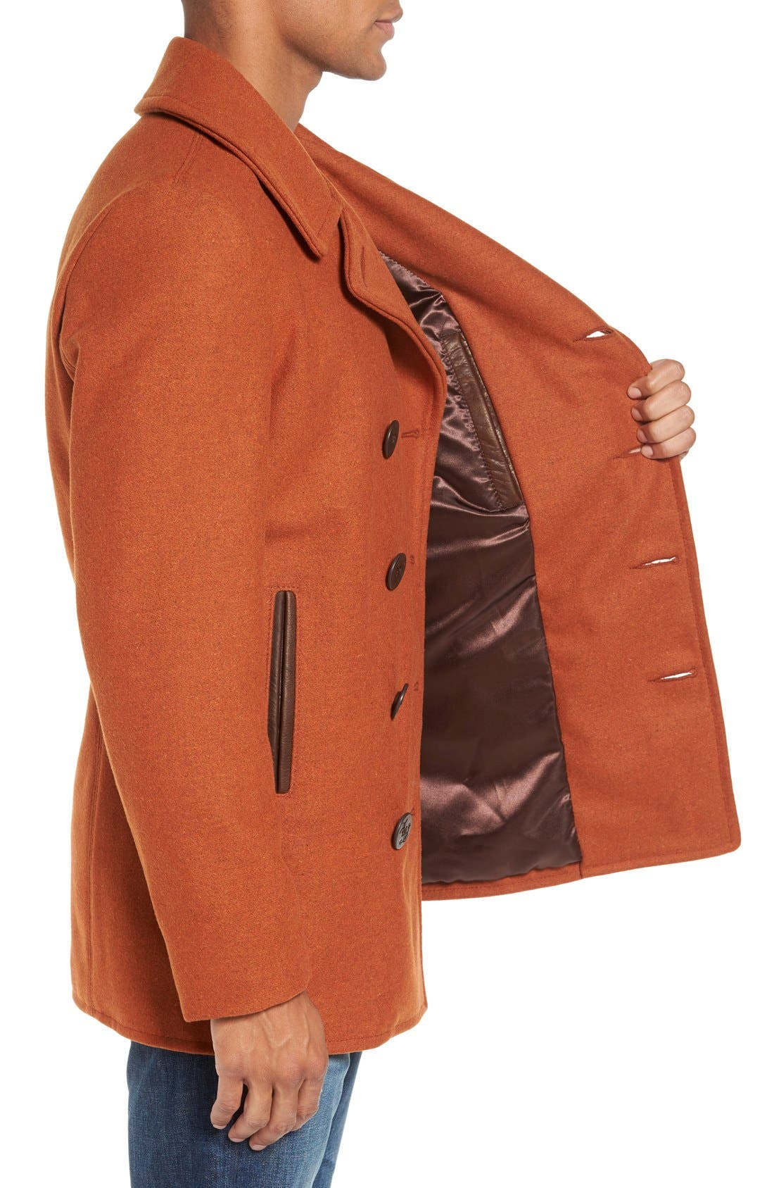 Alternate Image 3  - Schott NYC Slim Fit Wool Blend Peacoat