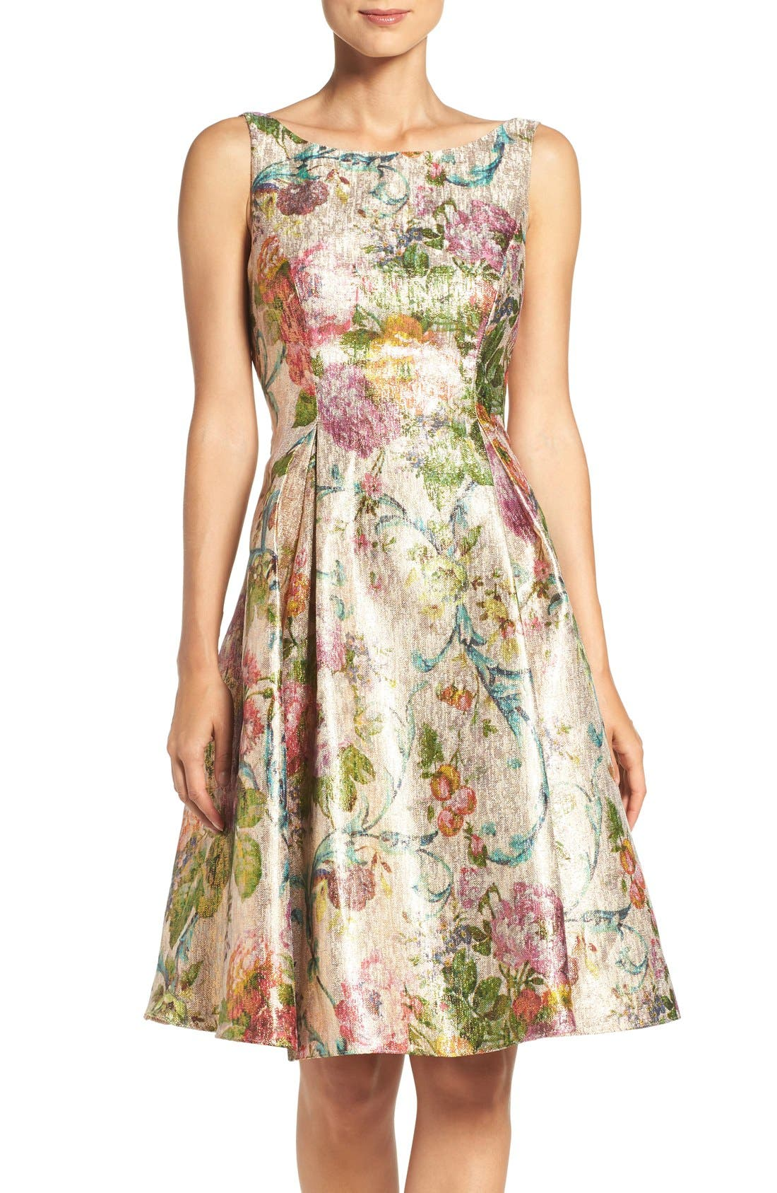Adrianna Papell Metallic Floral Jacquard Fit & Flare Dress ...