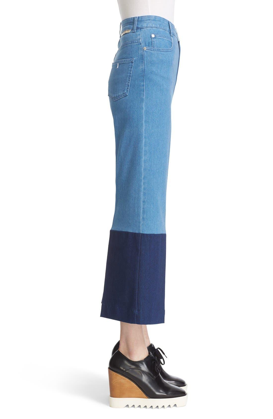 Alternate Image 3  - Stella McCartney High Rise Patchwork Denim Culottes (Multicolor)