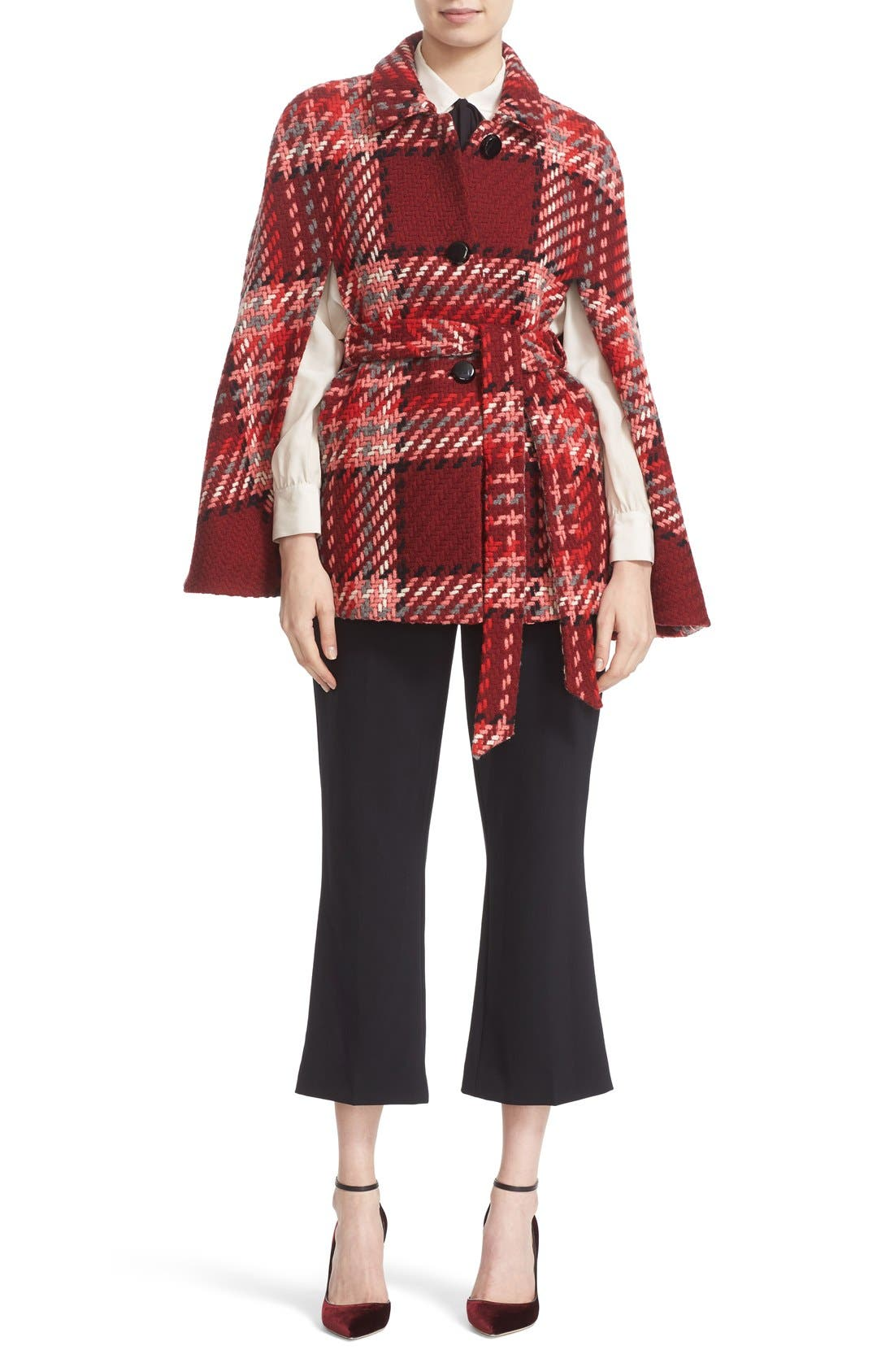 Main Image - kate spade new york chunky plaid belted wool blend cape