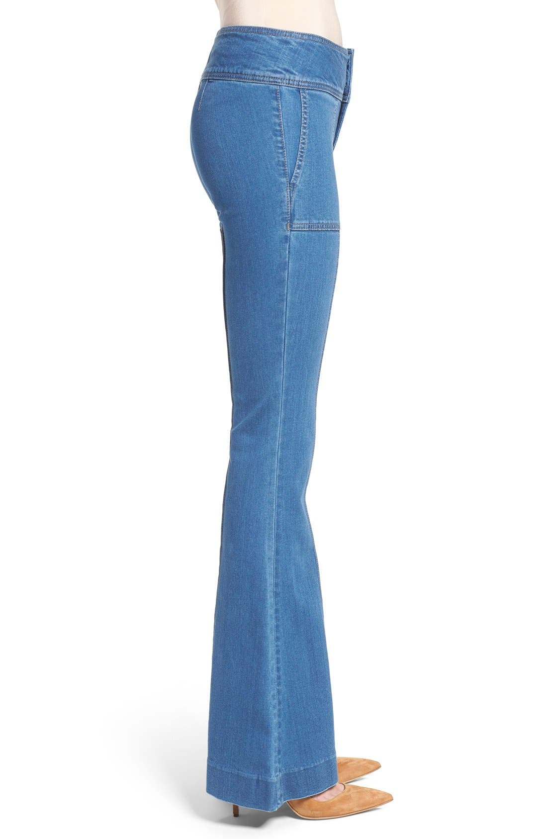 Alternate Image 4  - Olivia Palermo + Chelsea28 High Rise Flare Jeans (Mode Lt Rinse)