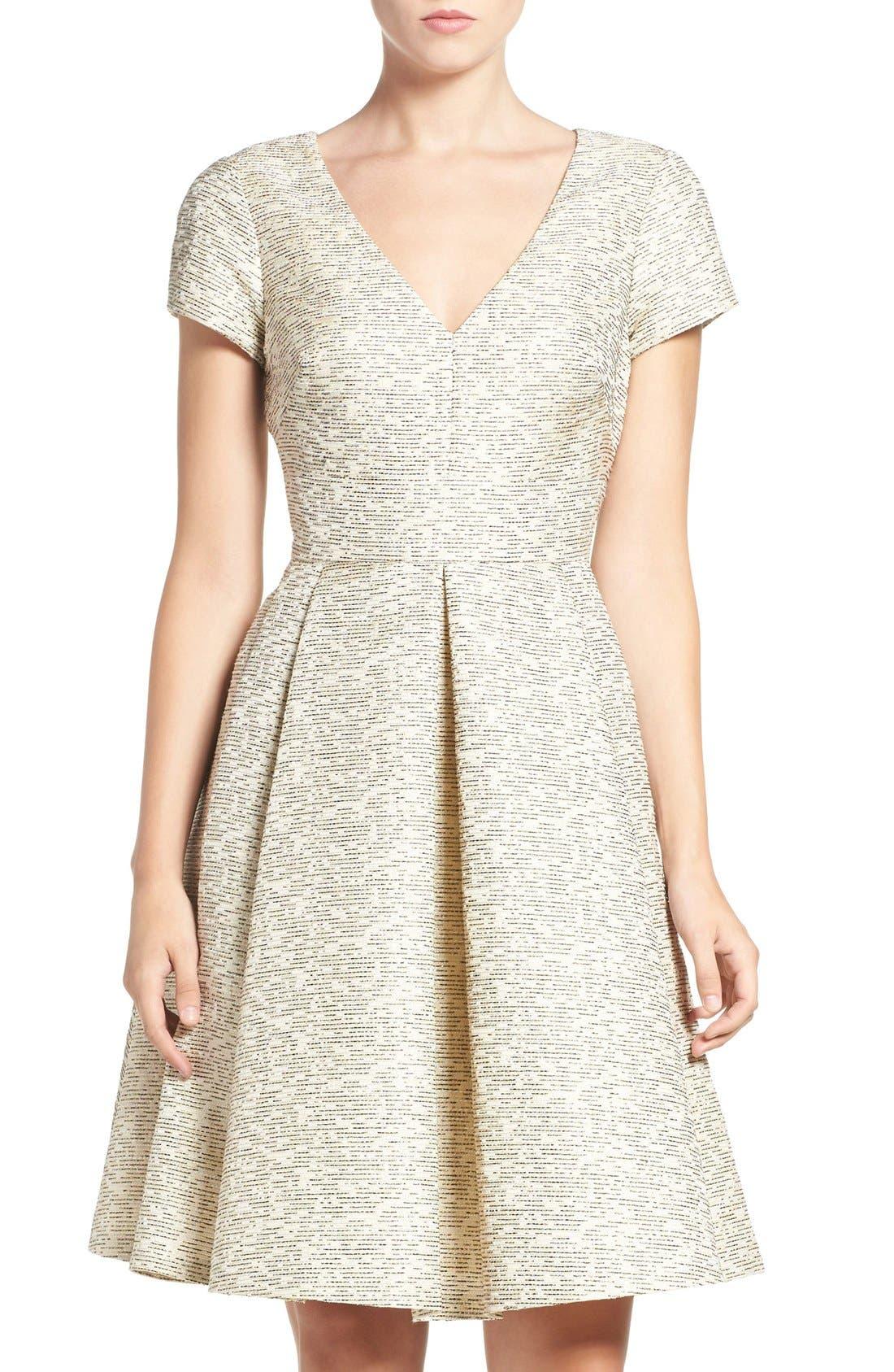 Main Image - Eliza J Metallic Jacquard Fit & Flare Dress