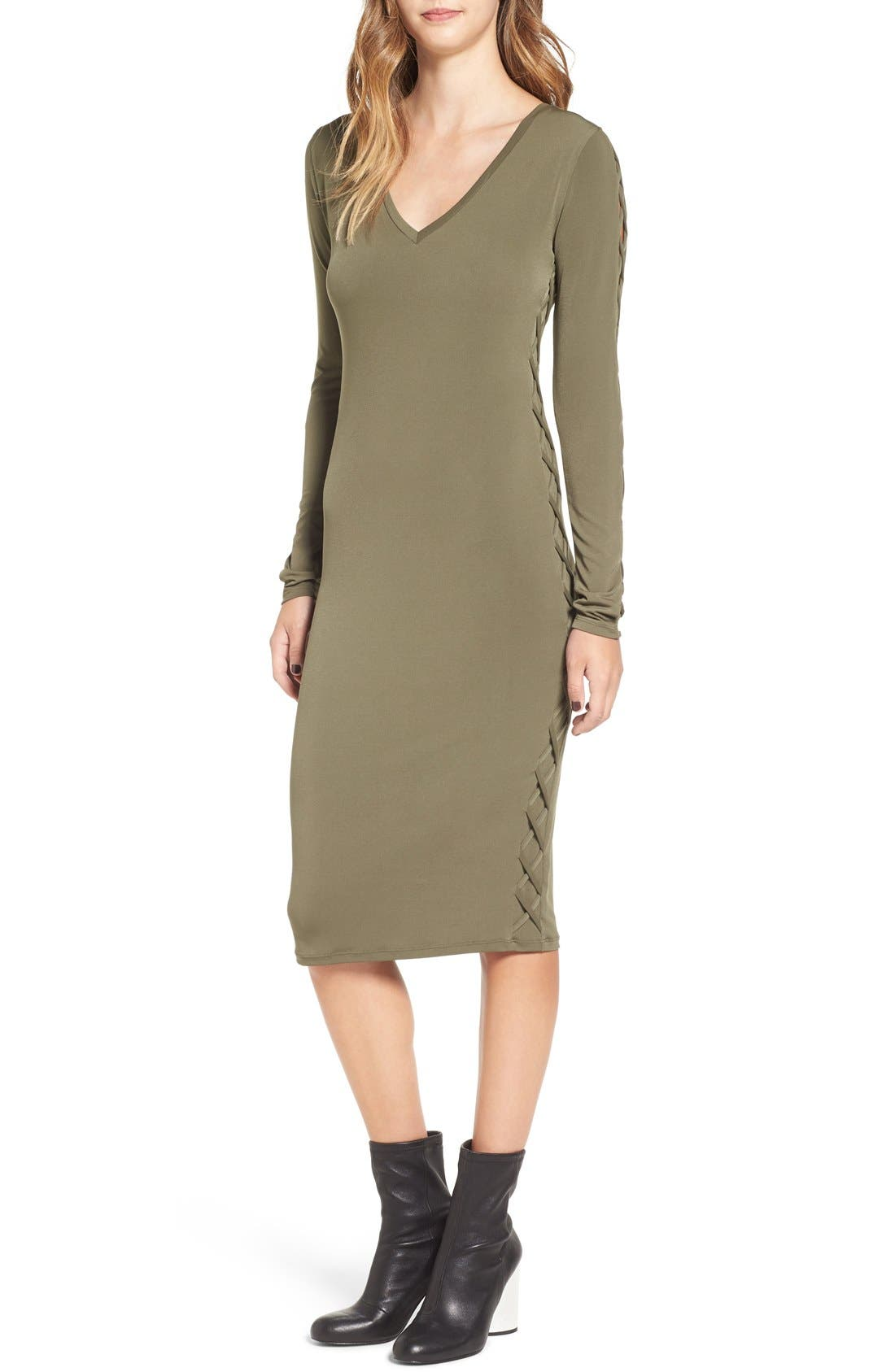 Alternate Image 1 Selected - Leith Lace-Up Long Sleeve Body-Con Dress