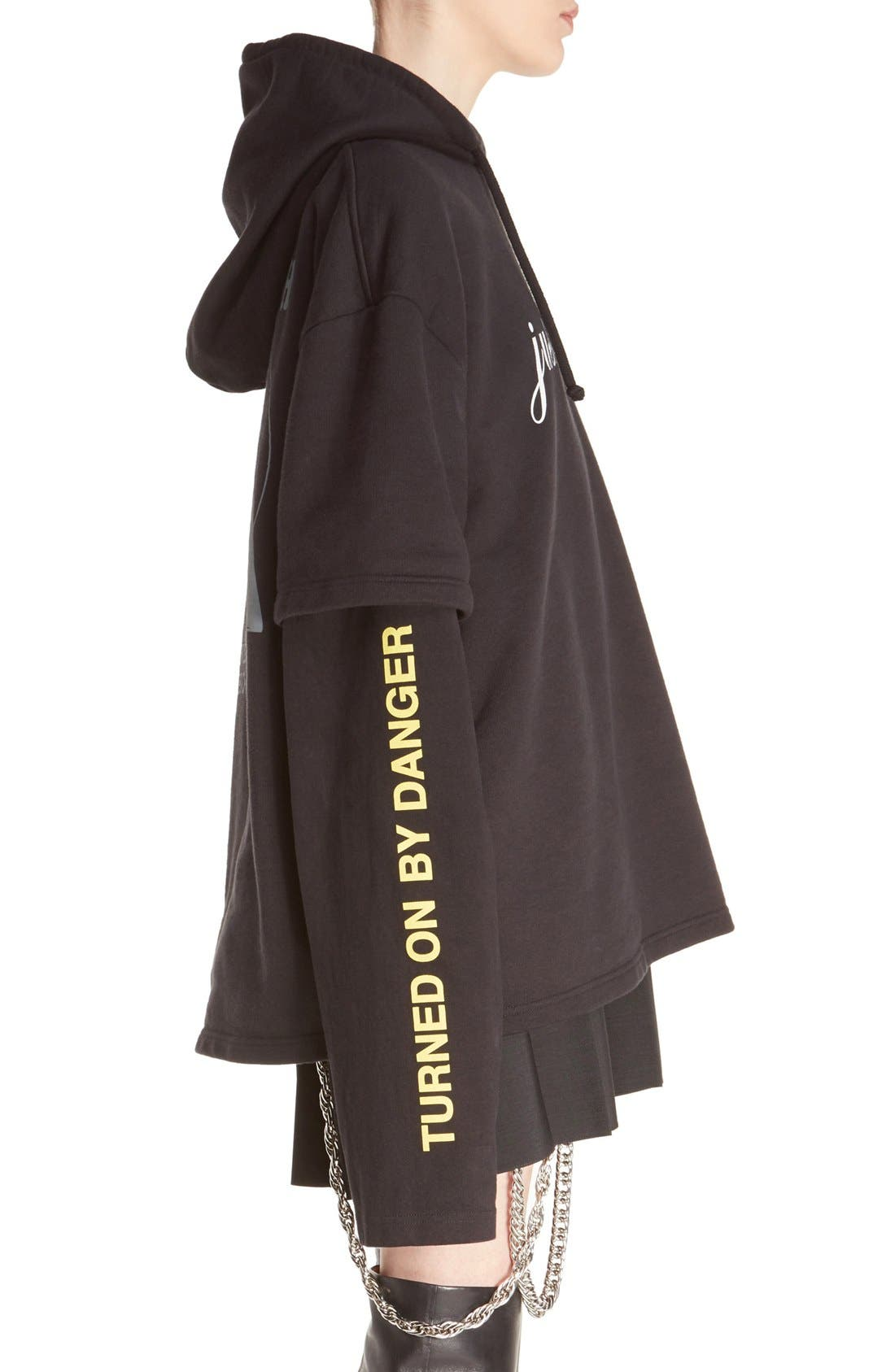 Alternate Image 4  - Vetements 'Justin4Ever' Double Sleeve Graphic Hoodie Dress