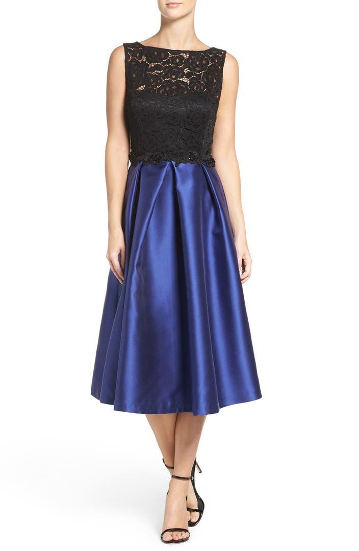 Ellen Tracy Lace Bodice Midi Dress Nordstrom