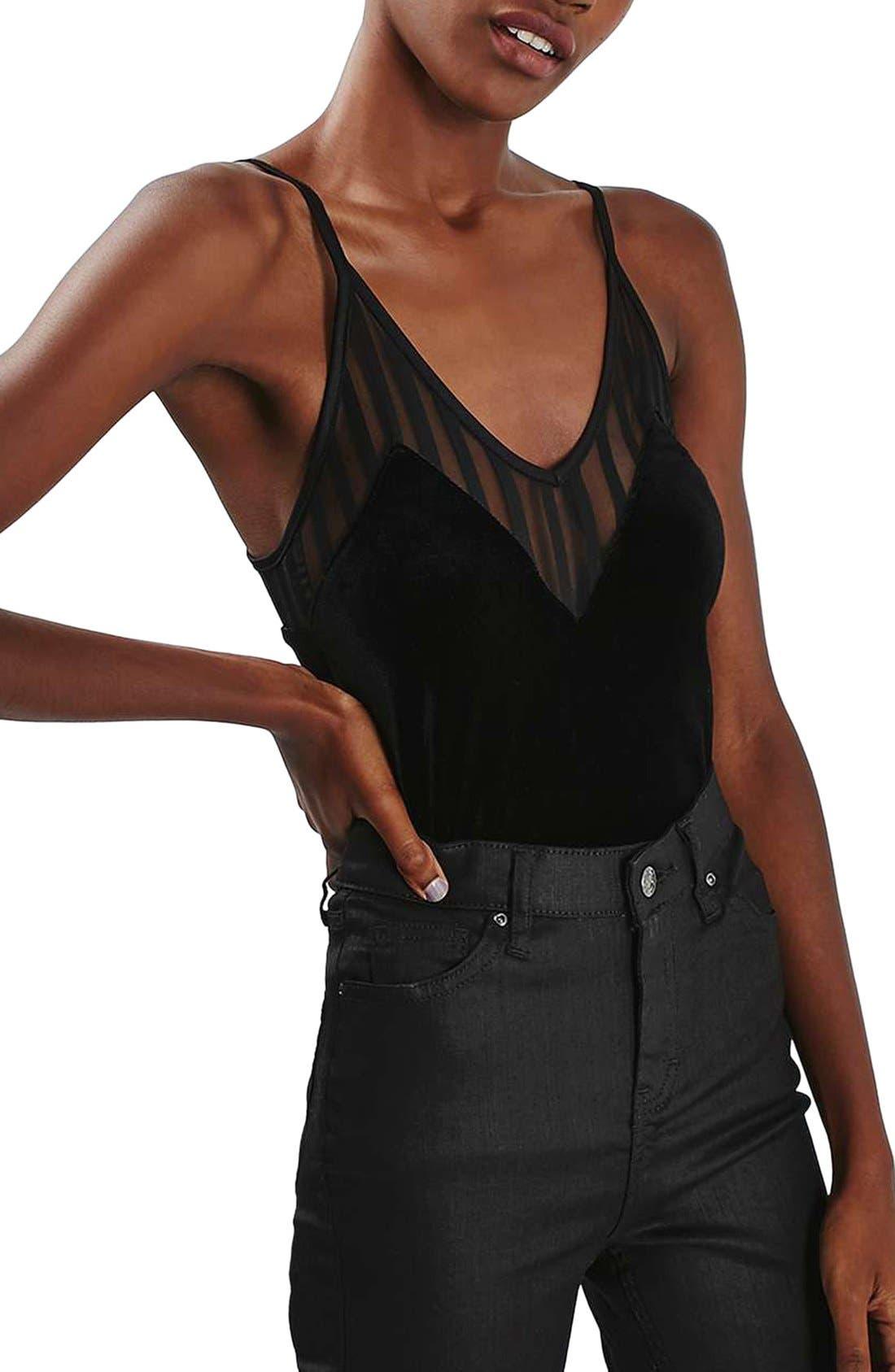 Main Image - Topshop Illusion Velvet Bodysuit