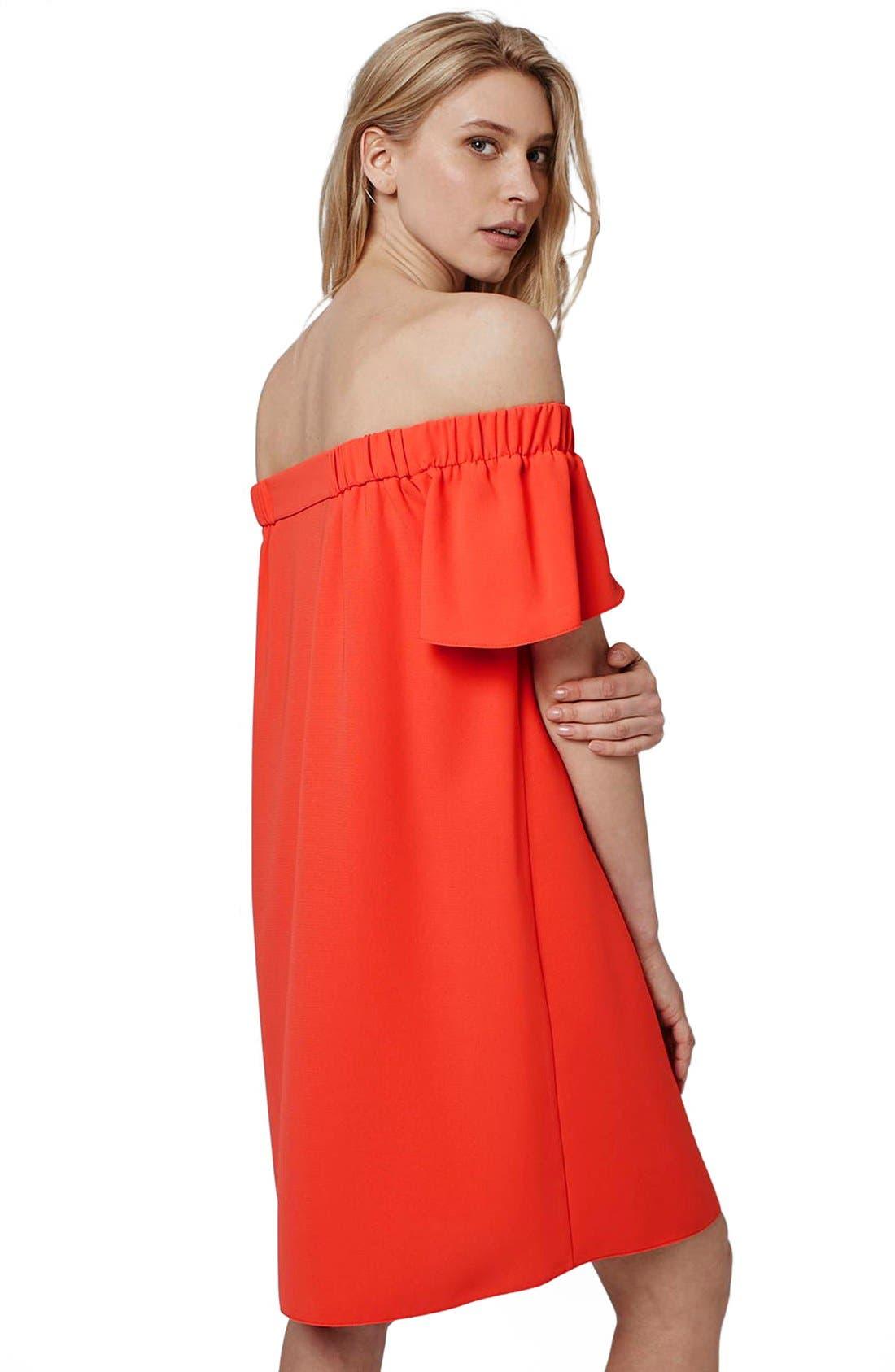 Alternate Image 2  - Topshop Off the Shoulder Trapeze Dress (Regular & Petite)