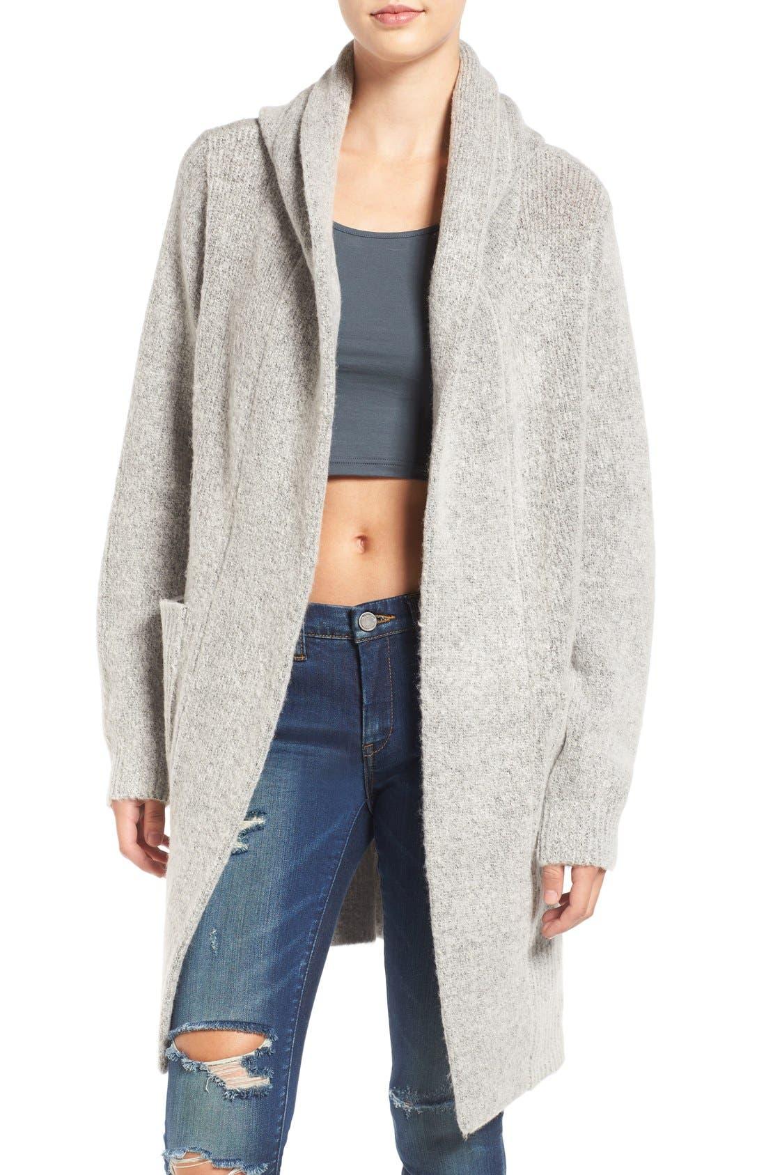 Main Image - BLANKNYC 'Textationship' Knit Hooded Cardigan