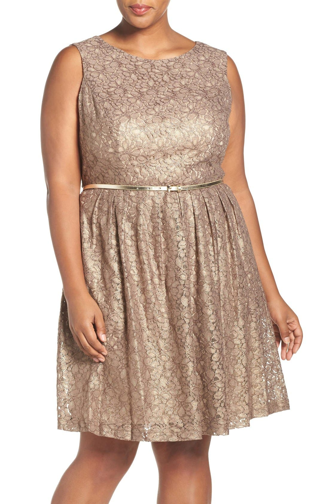 Ellen Tracy Belted Metallic Lace Pleat Fit & Flare Dress (Plus Size)