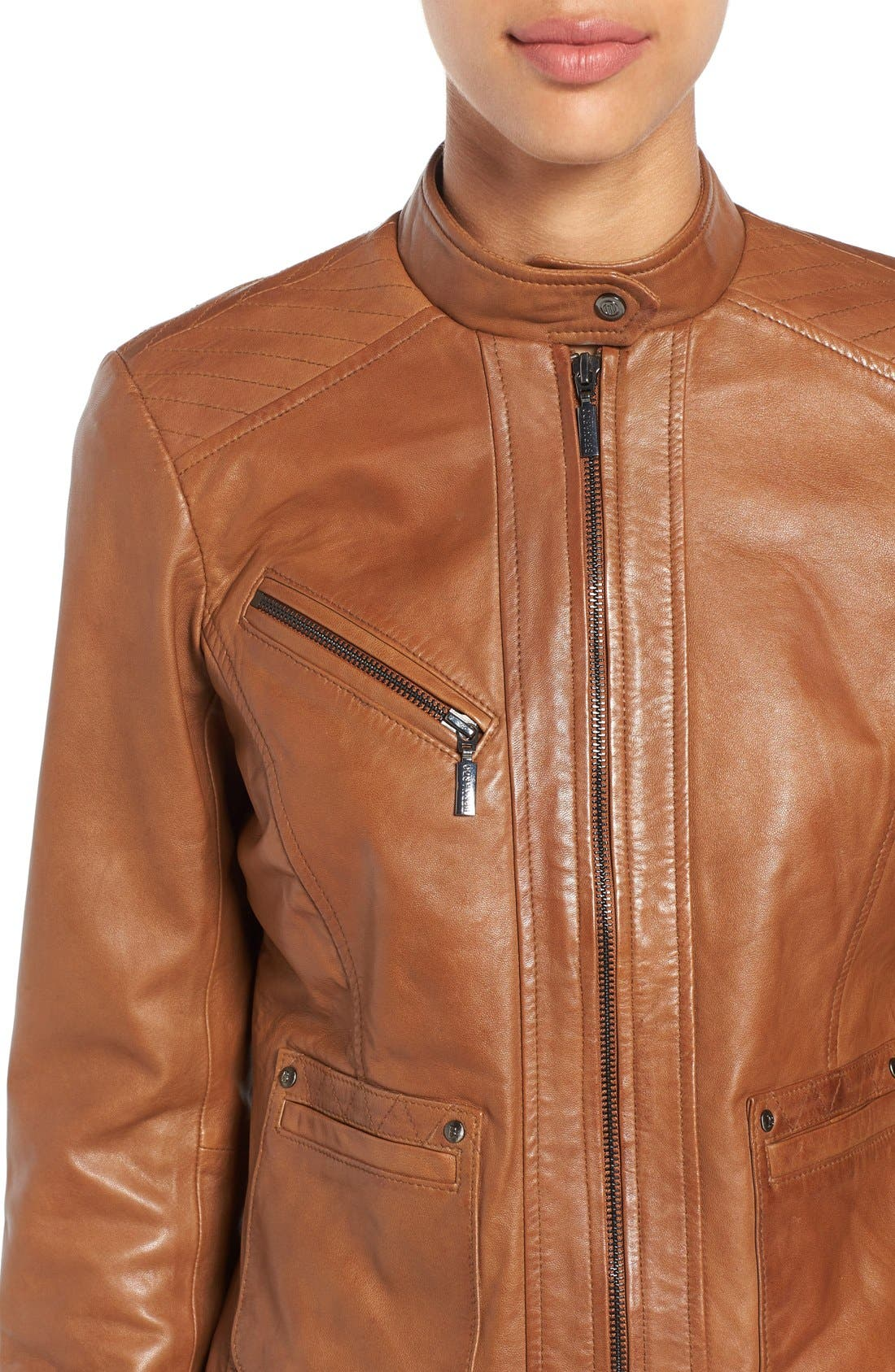 Alternate Image 5  - Bernardo Kirwin Leather Jacket (Regular & Petite)