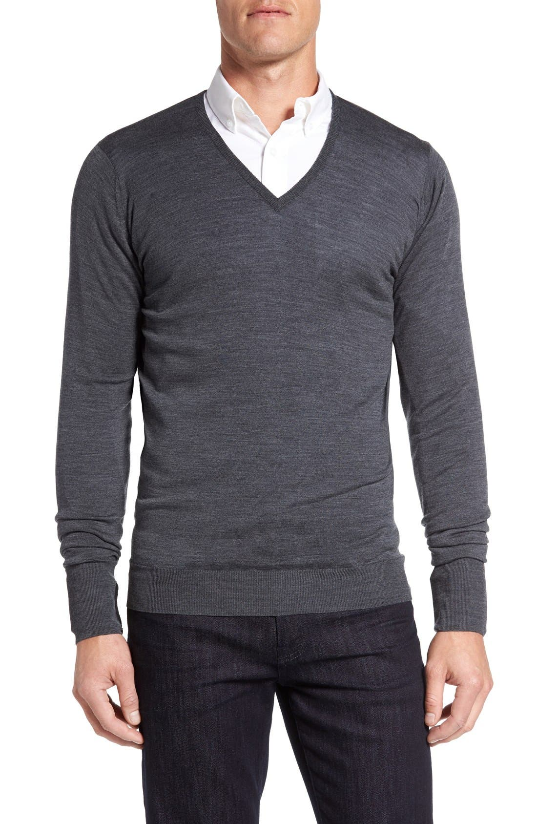 JOHN SMEDLEY 'Bobby' Easy Fit V Neck Wool