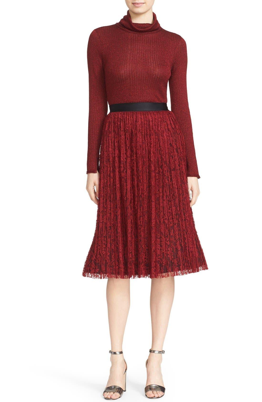 Alternate Image 2  - Alice + Olivia 'Mikaela' Pleat Lace Midi Skirt