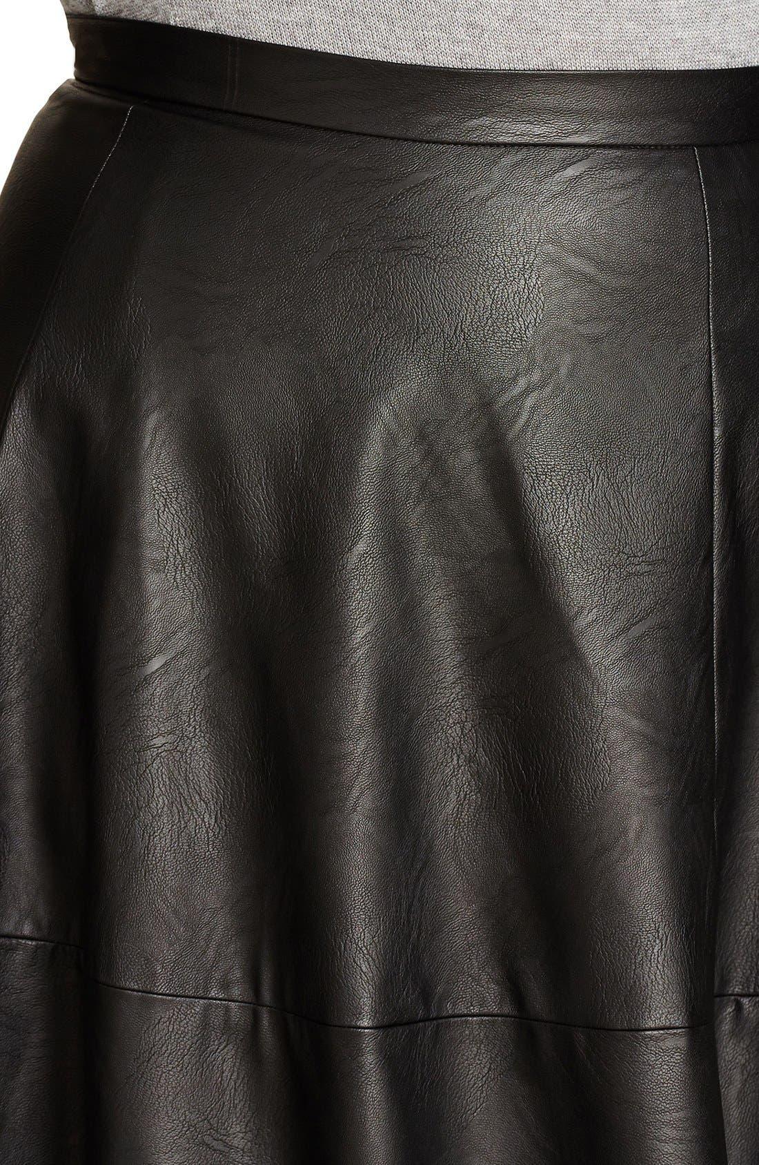 Alternate Image 4  - City Chic 'Flirt' Faux Leather Midi Skirt (Plus Size)