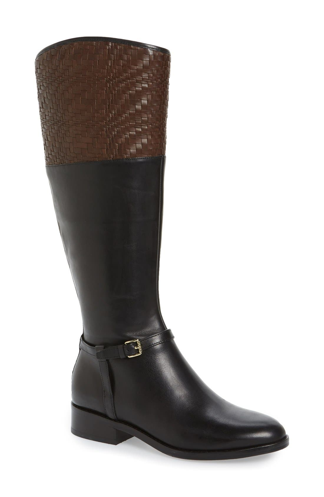 COLE HAAN 'Genevieve' Woven Cuff Riding Boot