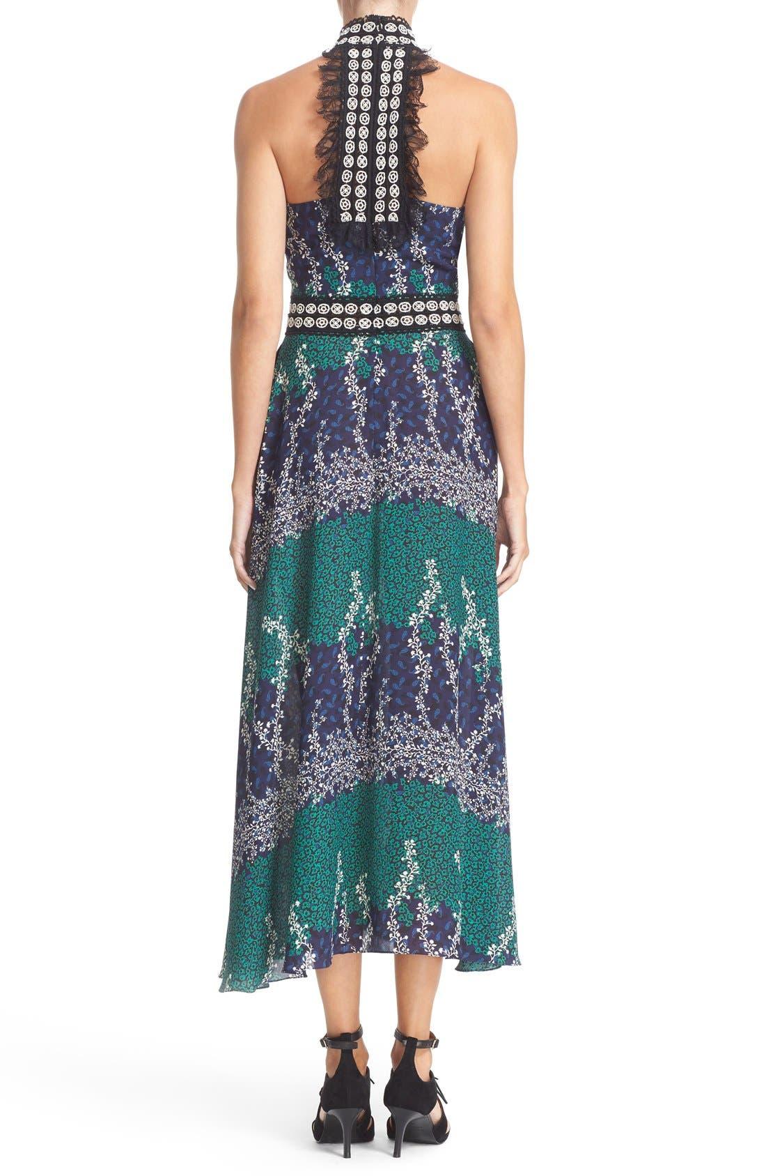 Alternate Image 2  - Yigal Azrouël Lace Trim Ivy & Paisley Print Maxi Dress