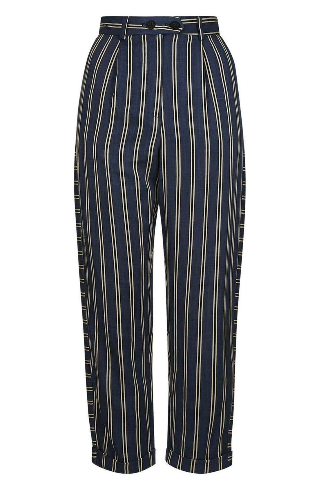 Alternate Image 5  - Topshop Stripe Peg Trousers