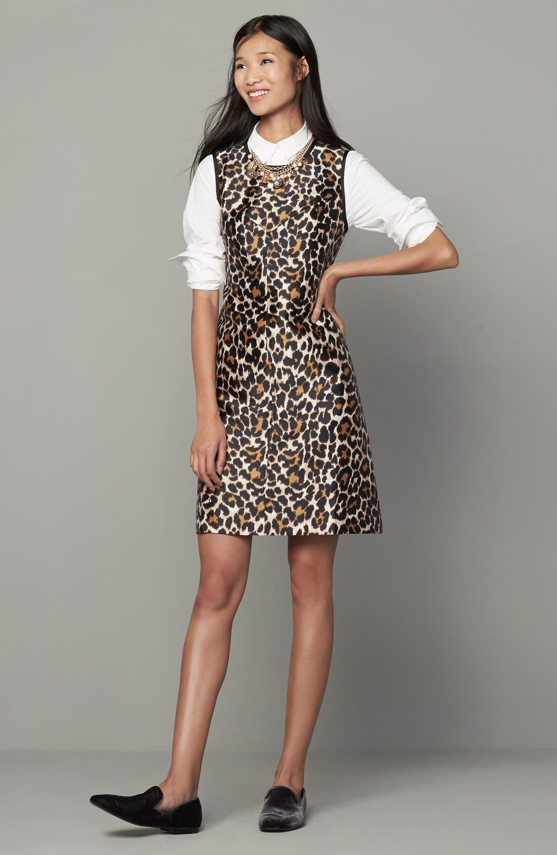 Alternate Image 2  - J.Crew Leopard Print Shift Dress (Regular & Petite)