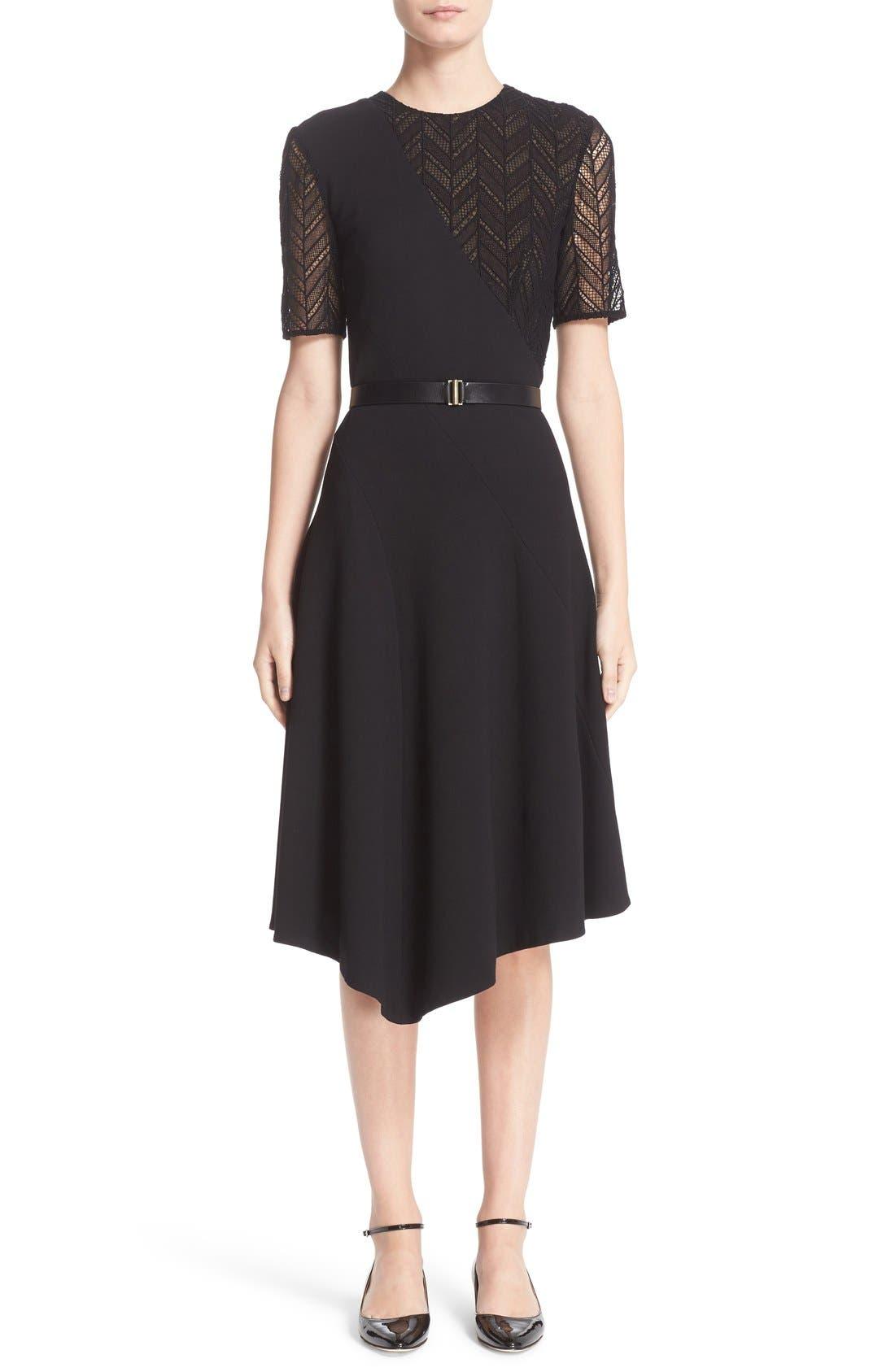 Alternate Image 1  - Jason Wu Chevron Lace & Ponte Knit Asymmetric Dress