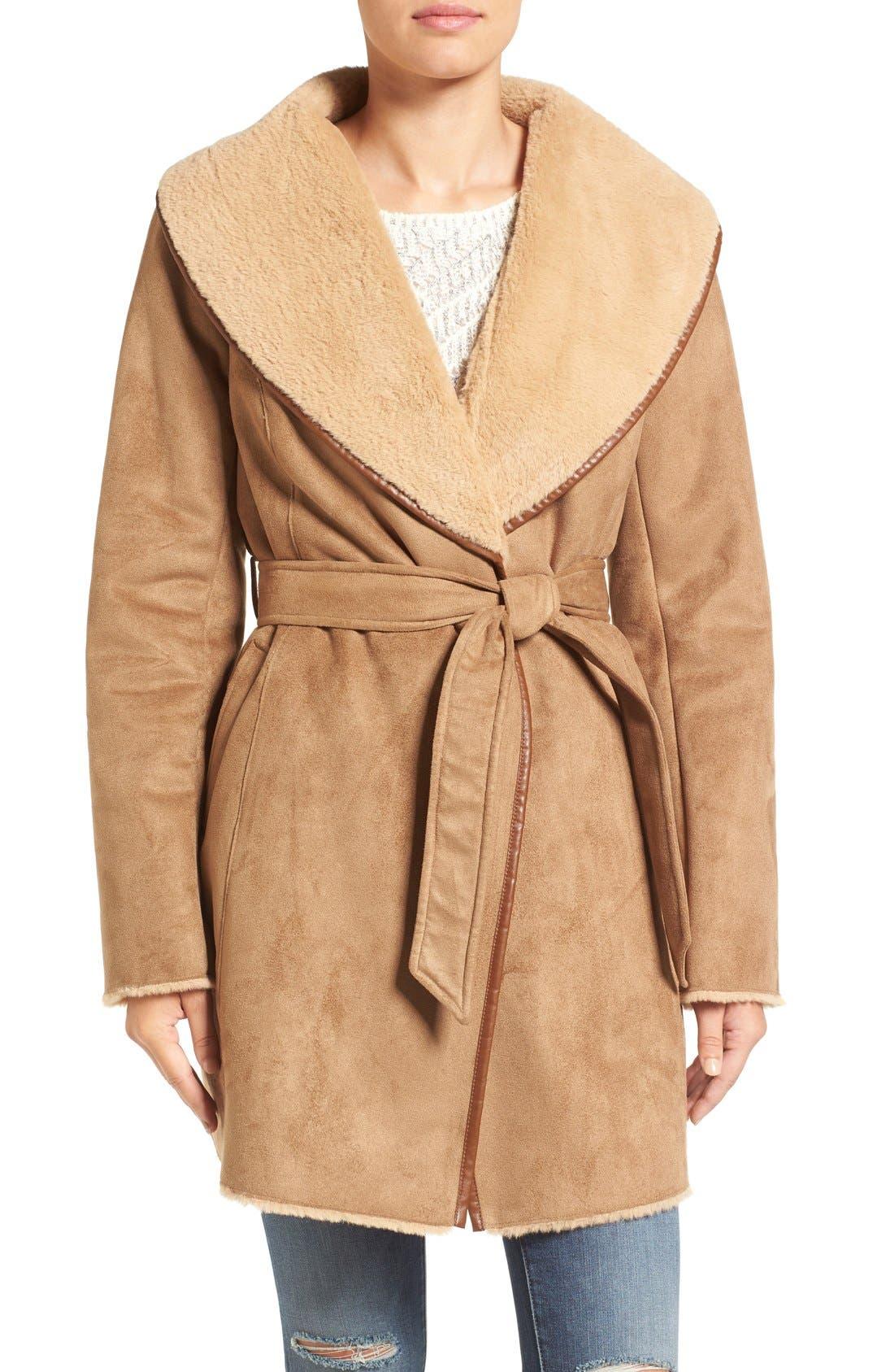 Alternate Image 1 Selected - Ellen Tracy Faux Shearling Wrap Coat