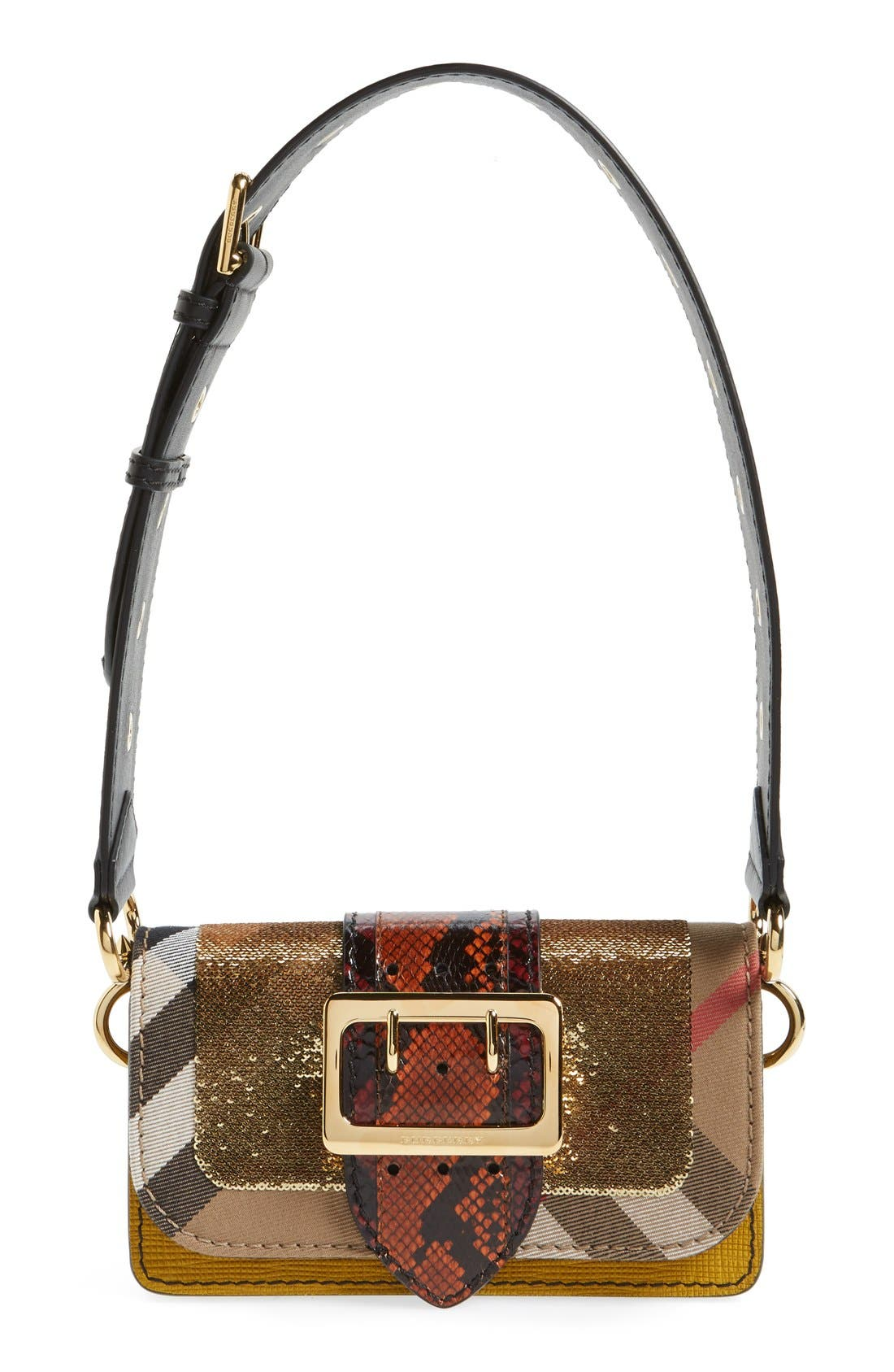Main Image - Burberry 'Belt Bag' Mixed Finish Convertible Clutch with Genuine Snakeskin Trim