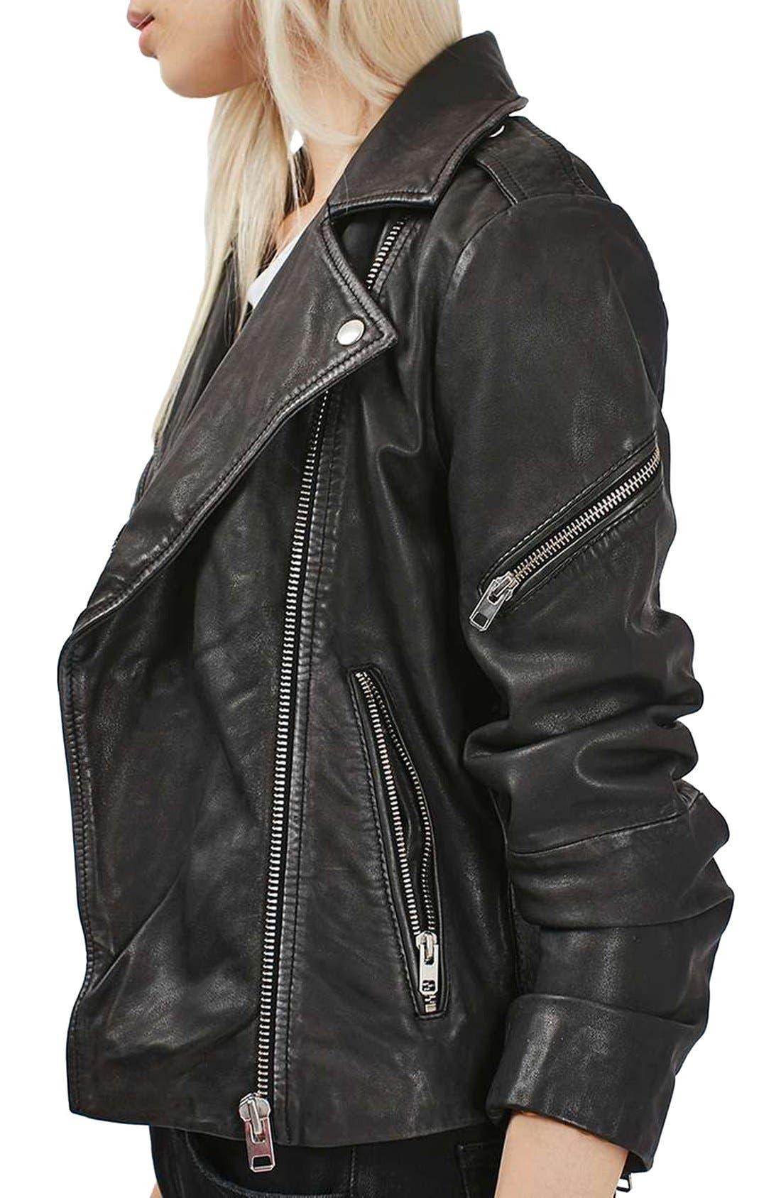 Alternate Image 4  - Topshop Lightning Leather Biker Jacket