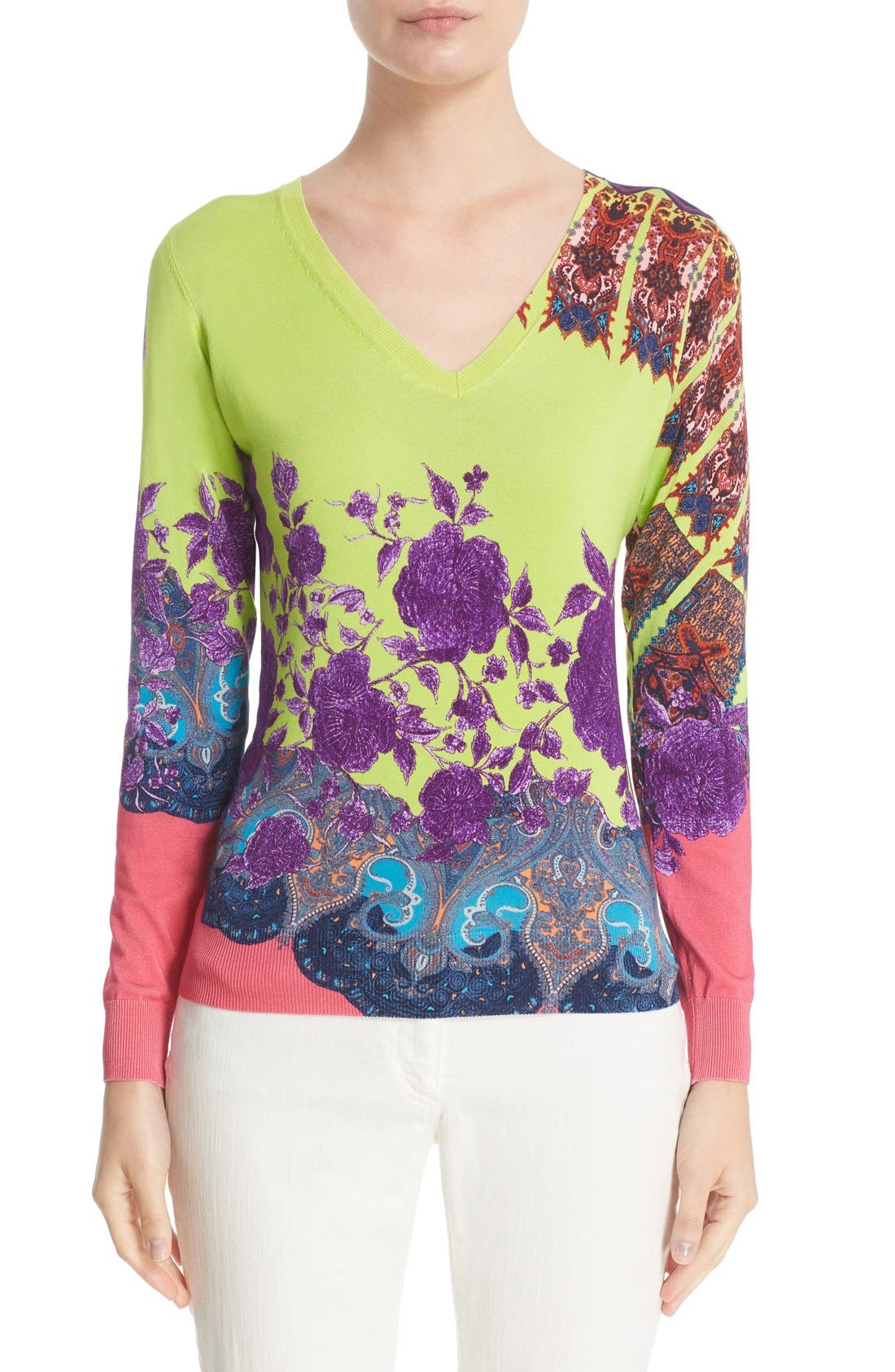 ETRO Floral Print Stretch Silk Sweater