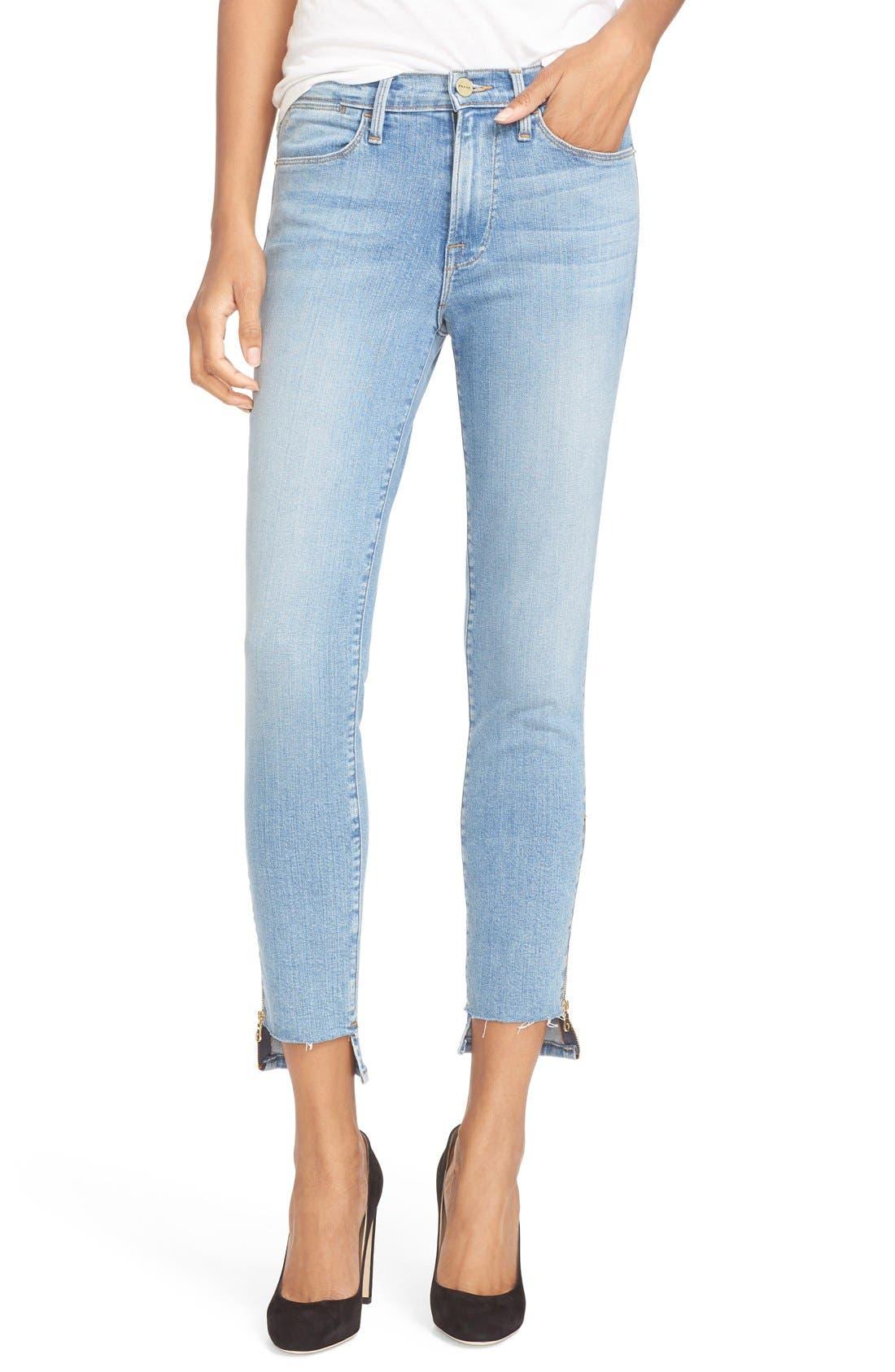 FRAME Step Hem High Waist Skinny Jeans