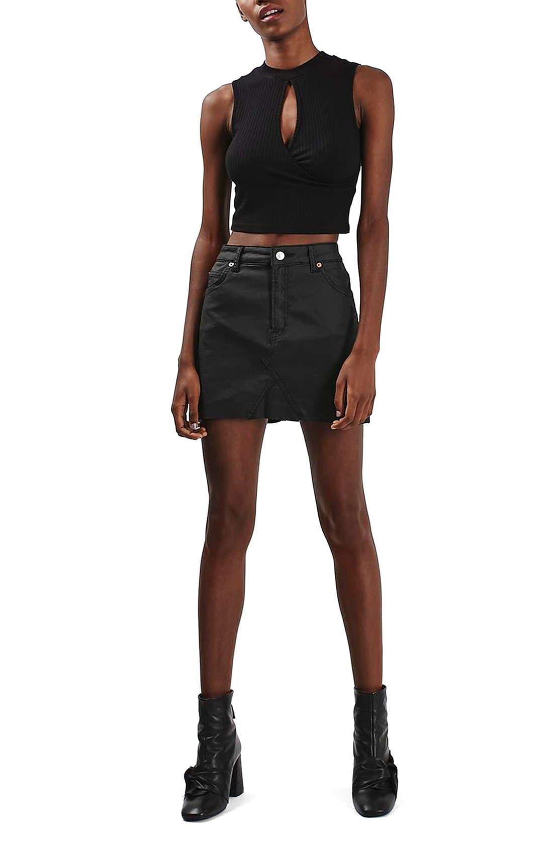 Alternate Image 2  - Topshop Coated Stretch Denim Miniskirt