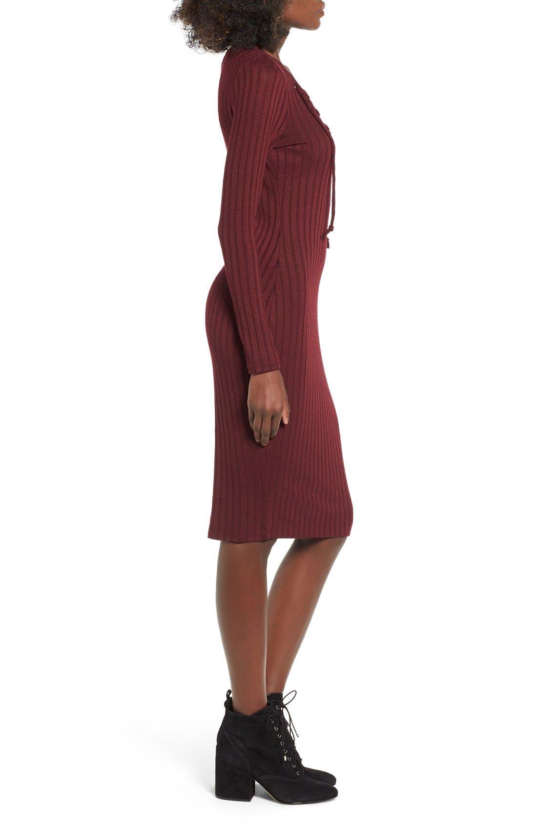 Alternate Image 3  - Love, Fire Lace-Up Rib Knit Dress