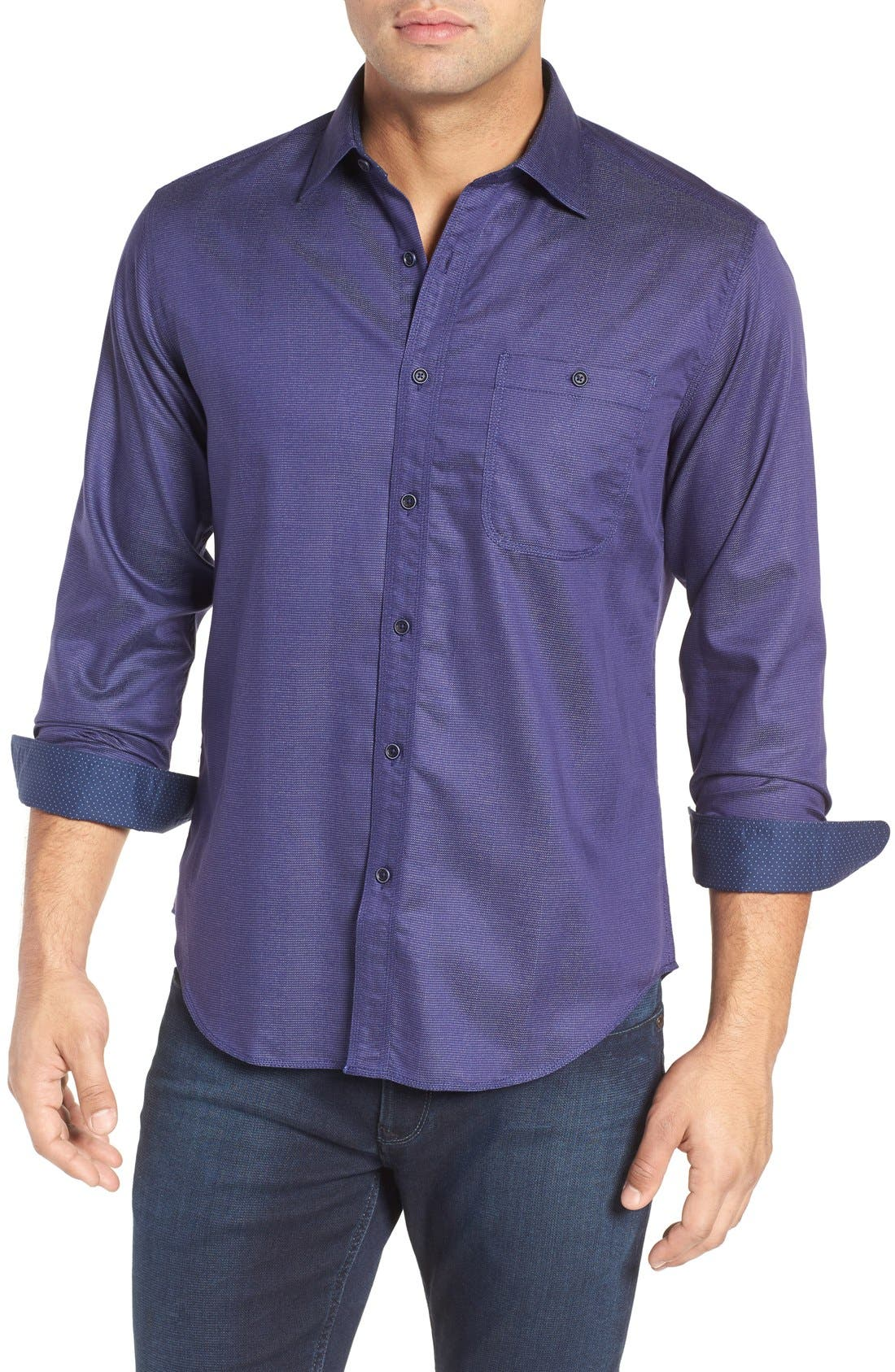 BUGATCHI Shaped Fit Stripe Jacquard Sport Shirt