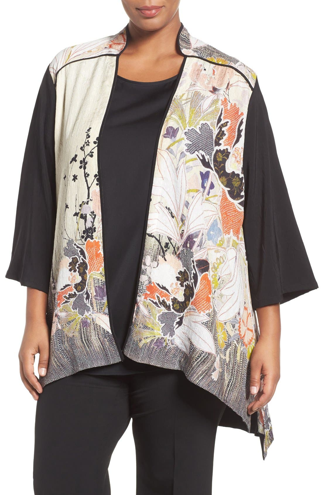 CITRON Print Block Silk Stand Collar Jacket