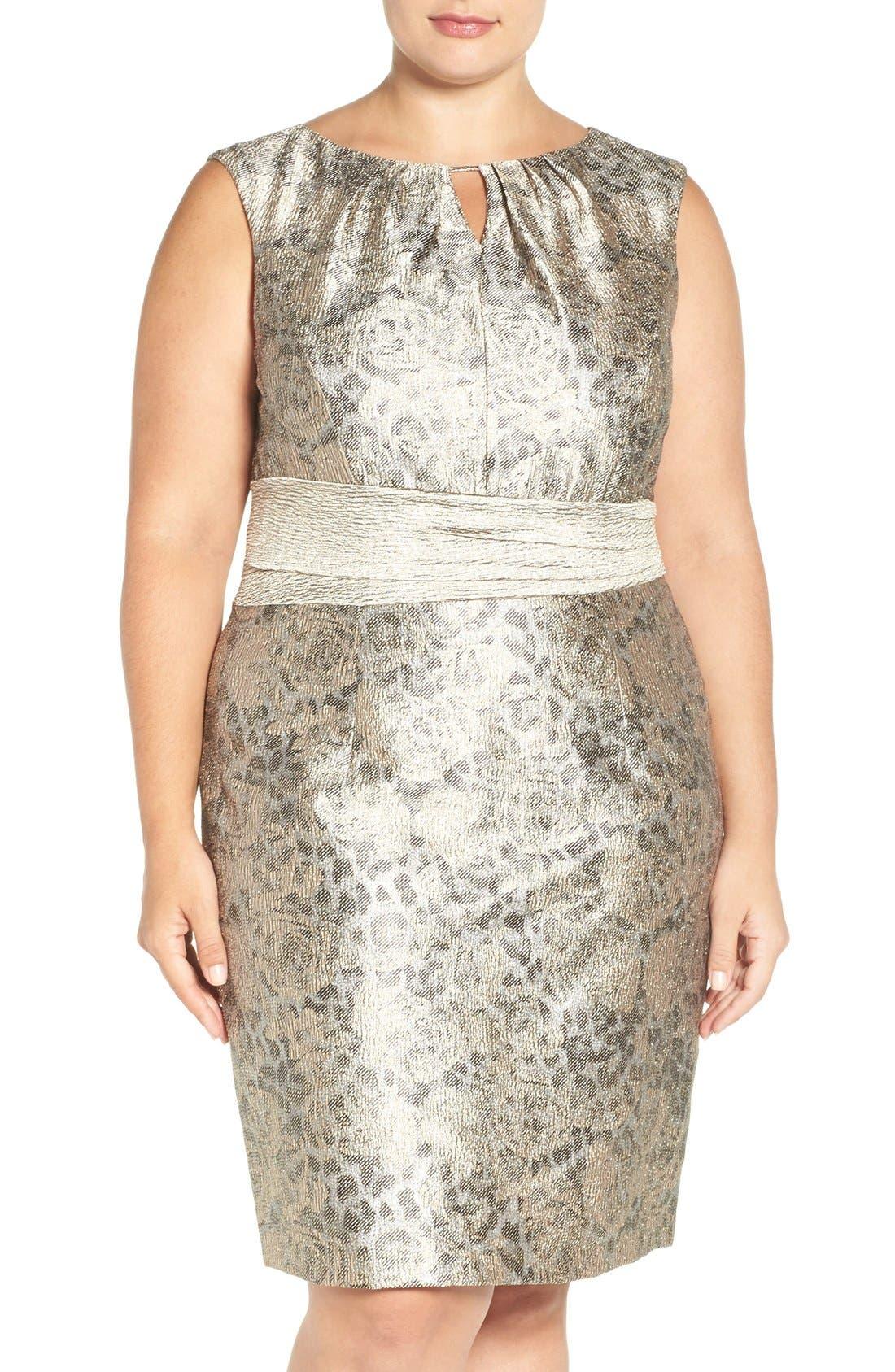 ELLEN TRACY Metallic Jacquard Sheath Dress