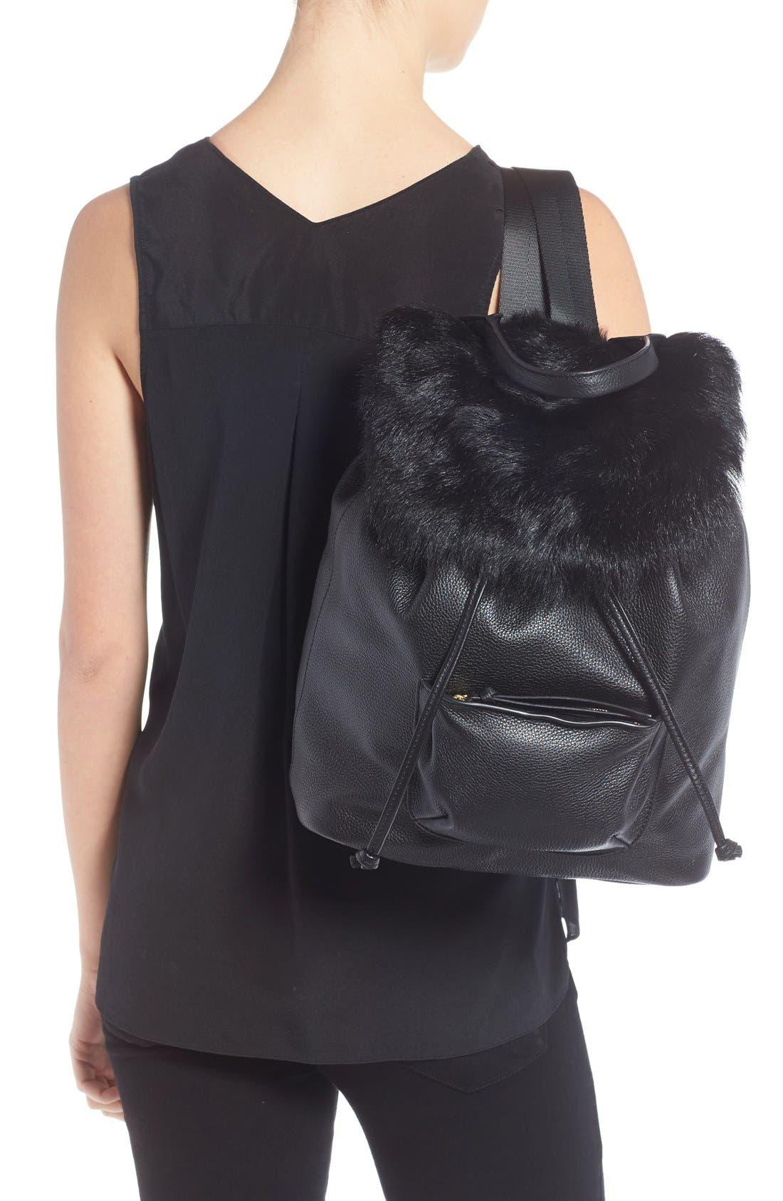 Alternate Image 2  - Elizabeth and James 'Langley' Leather & Genuine Sheep Fur Backpack