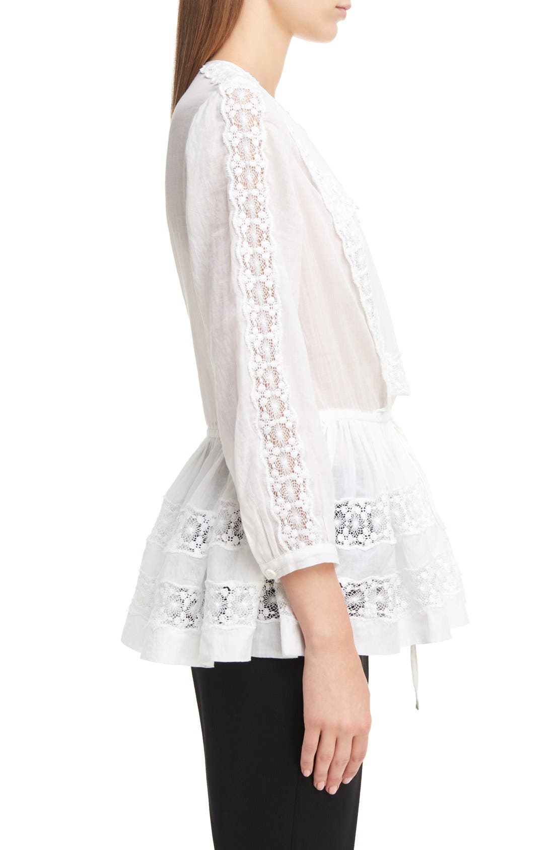 Alternate Image 4  - Givenchy Ruffle Crepon Peasant Blouse