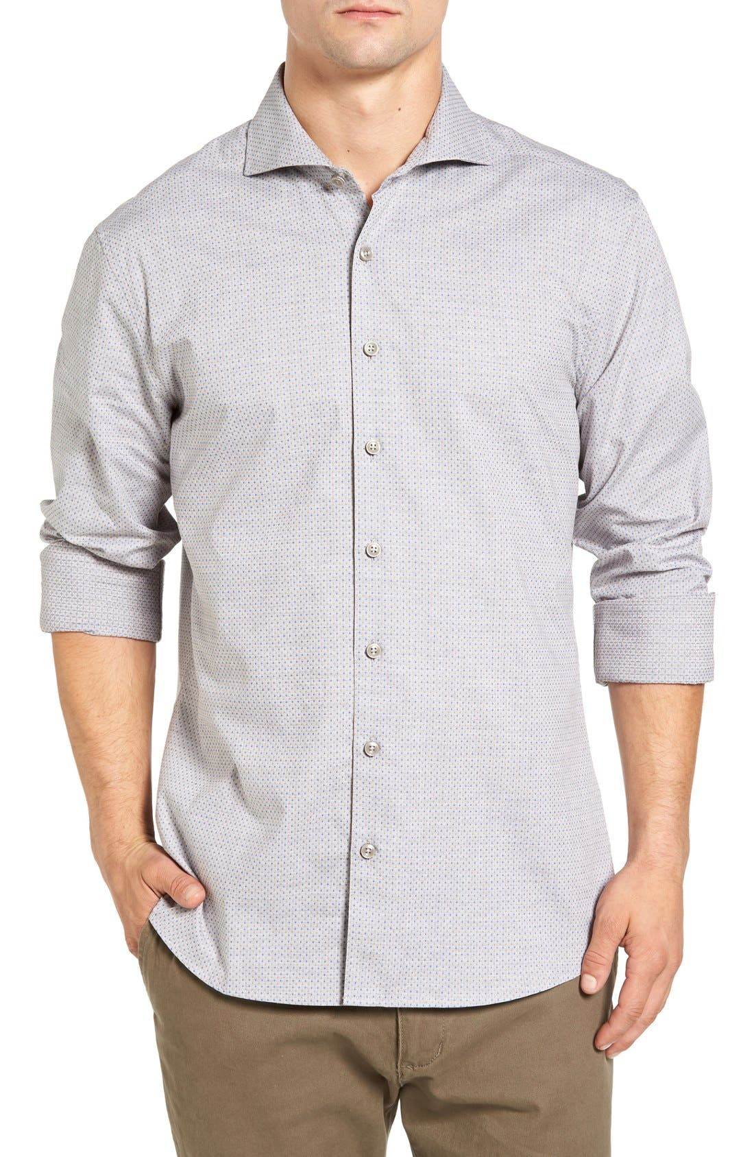 SINGER + SARGENT Regular Fit Dobby Sport Shirt