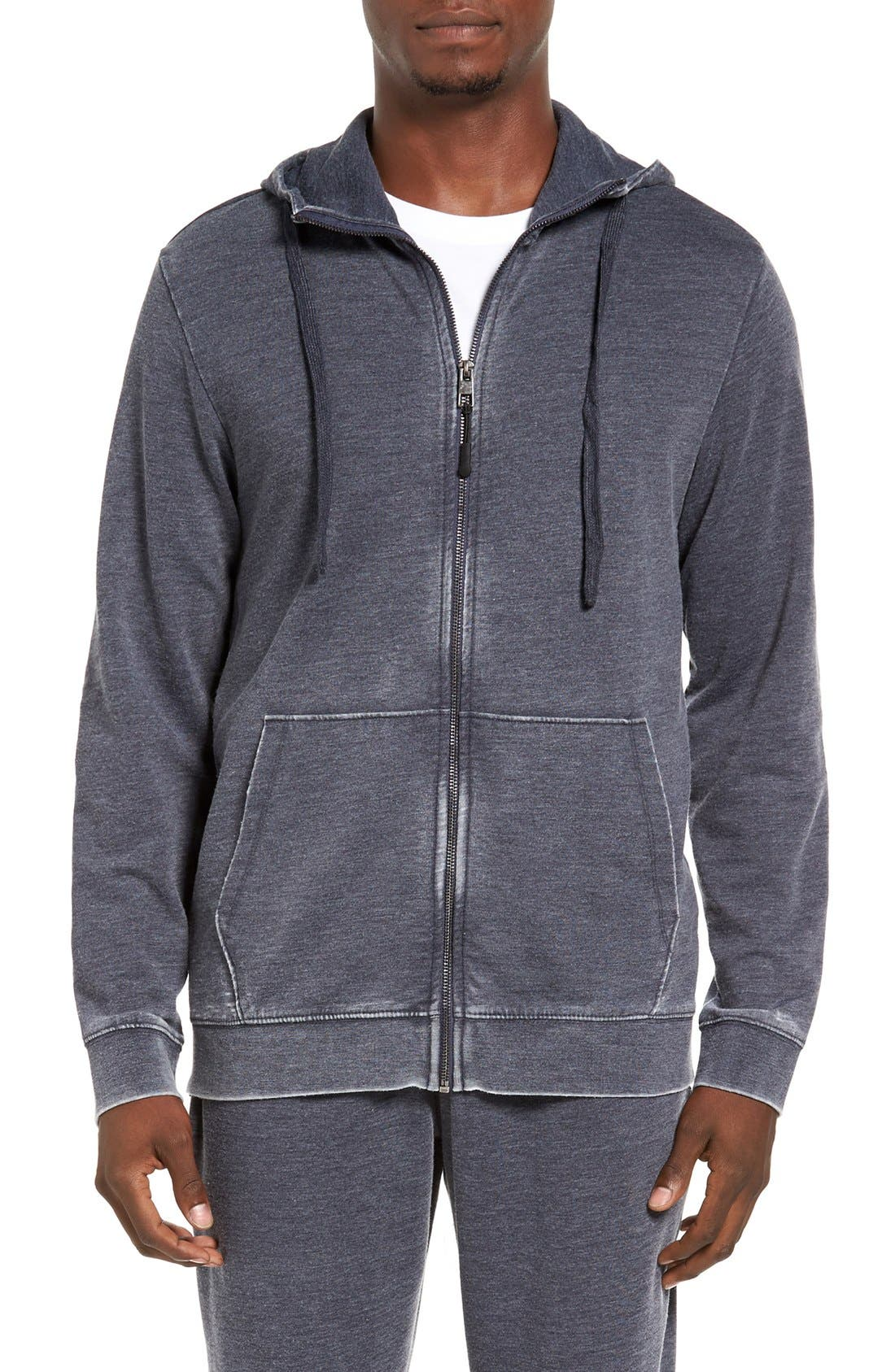 DANIEL BUCHLER Washed Cotton Blend Terry Zip Hoodie