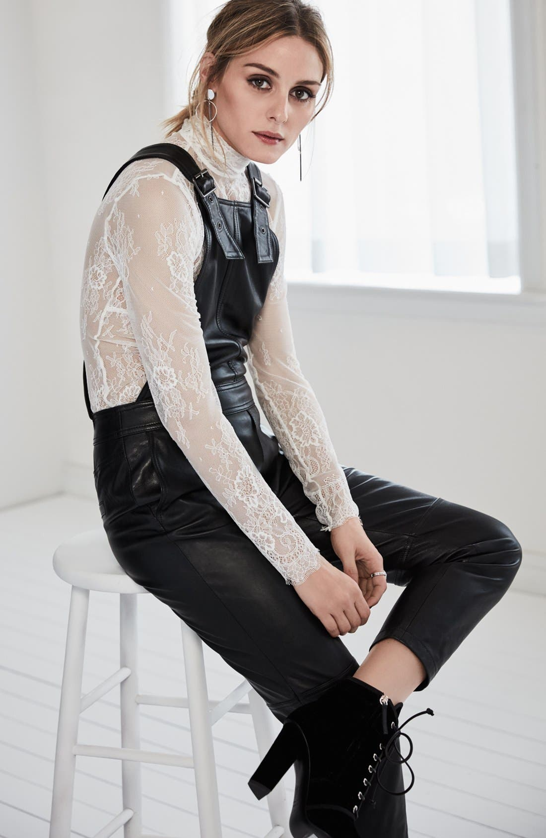 Alternate Image 2  - Olivia Palermo + Chelsea28 Leather Overalls