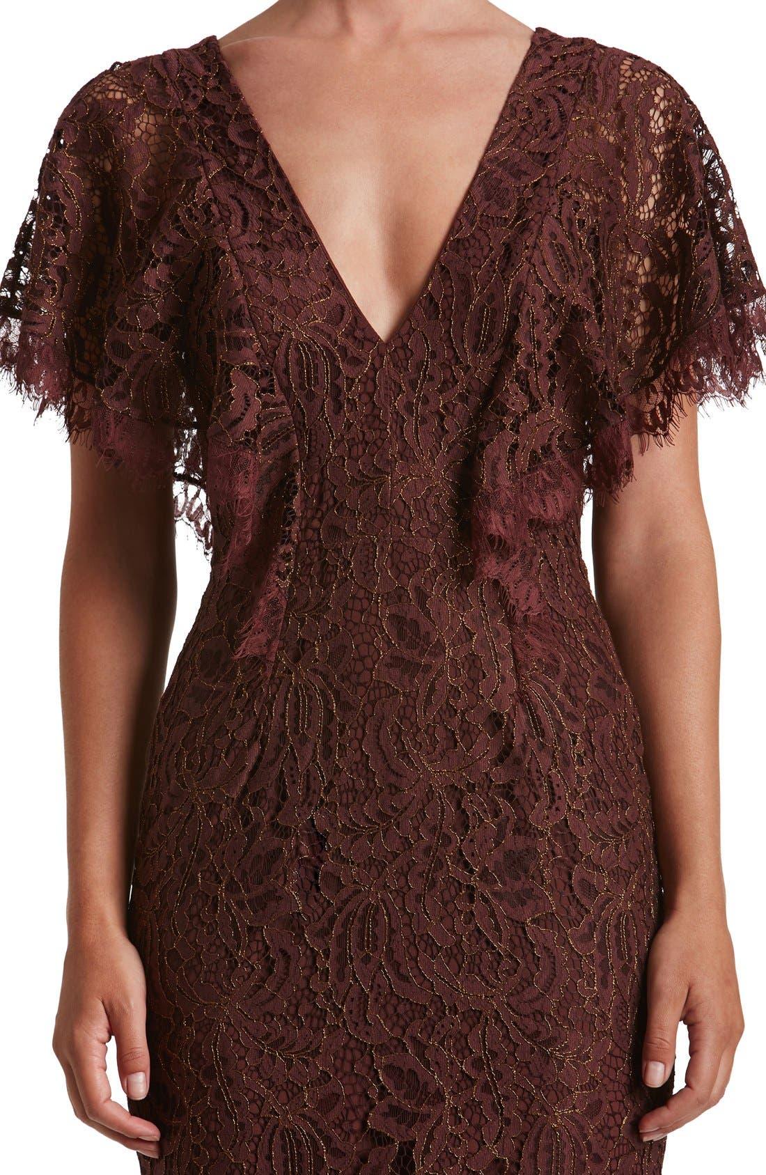 Alternate Image 5  - Dress the Population Lidia Lace Midi Dress