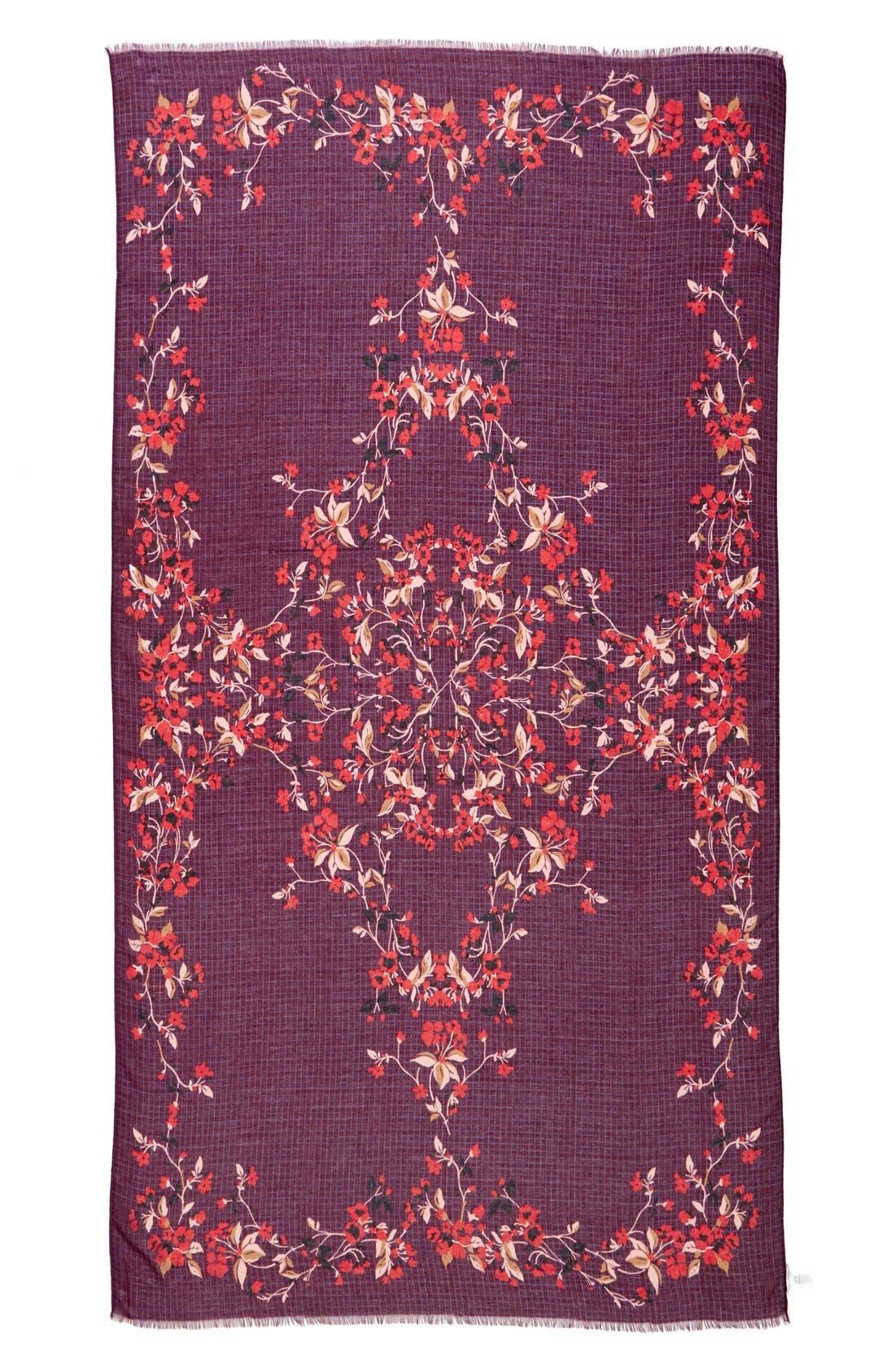 Alternate Image 2  - Halogen® 'Enchanted Bloom' Floral Grid Scarf